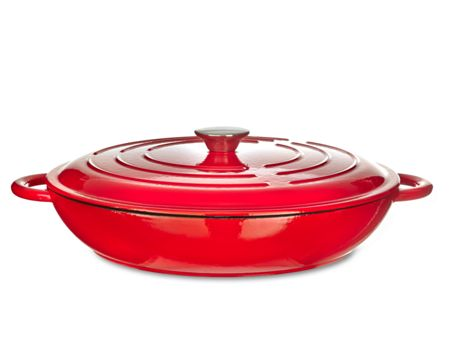 Linea Red 31cm low round cast iron casserole