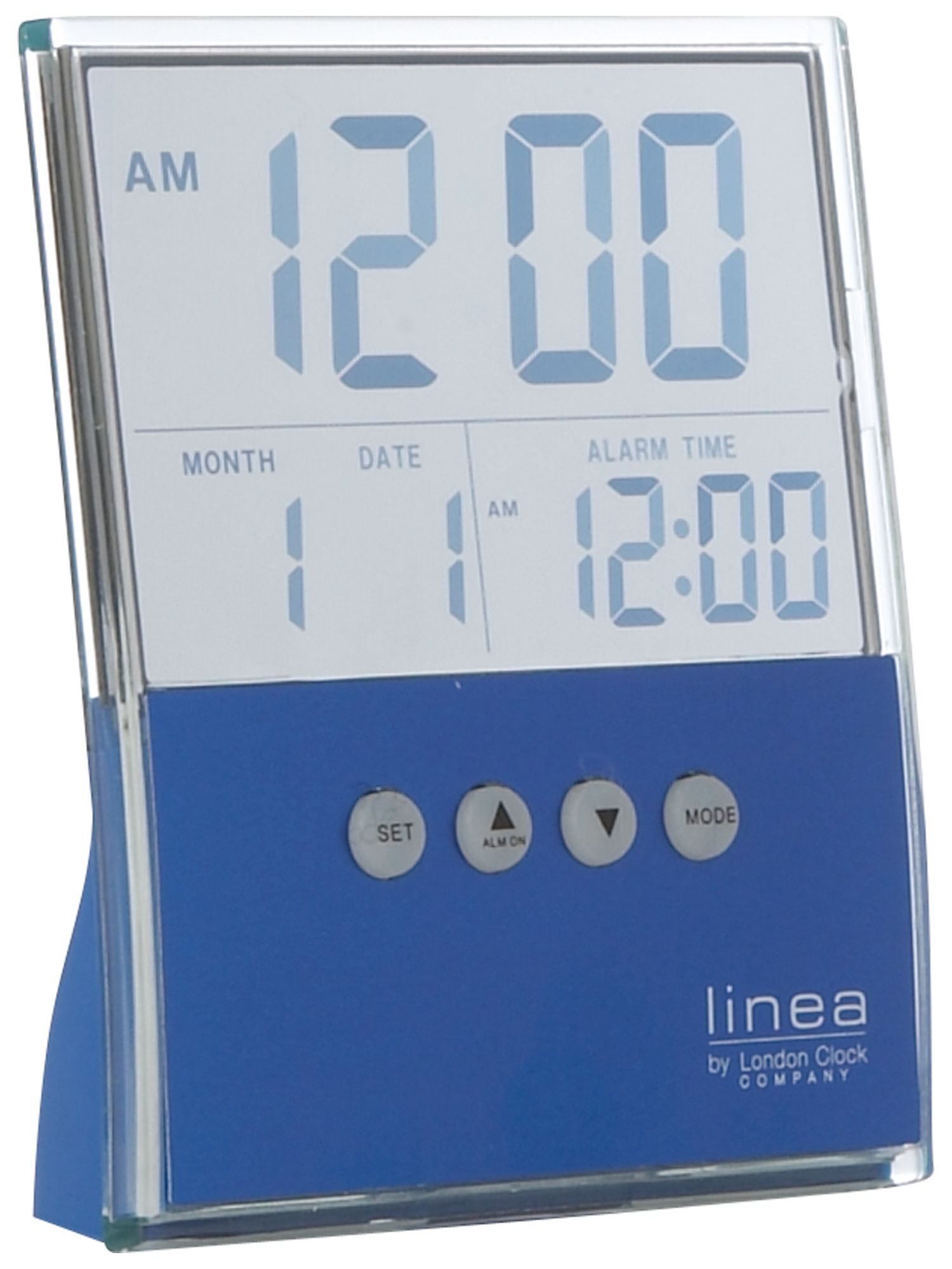 Linea Bright blue LCD alarm clock