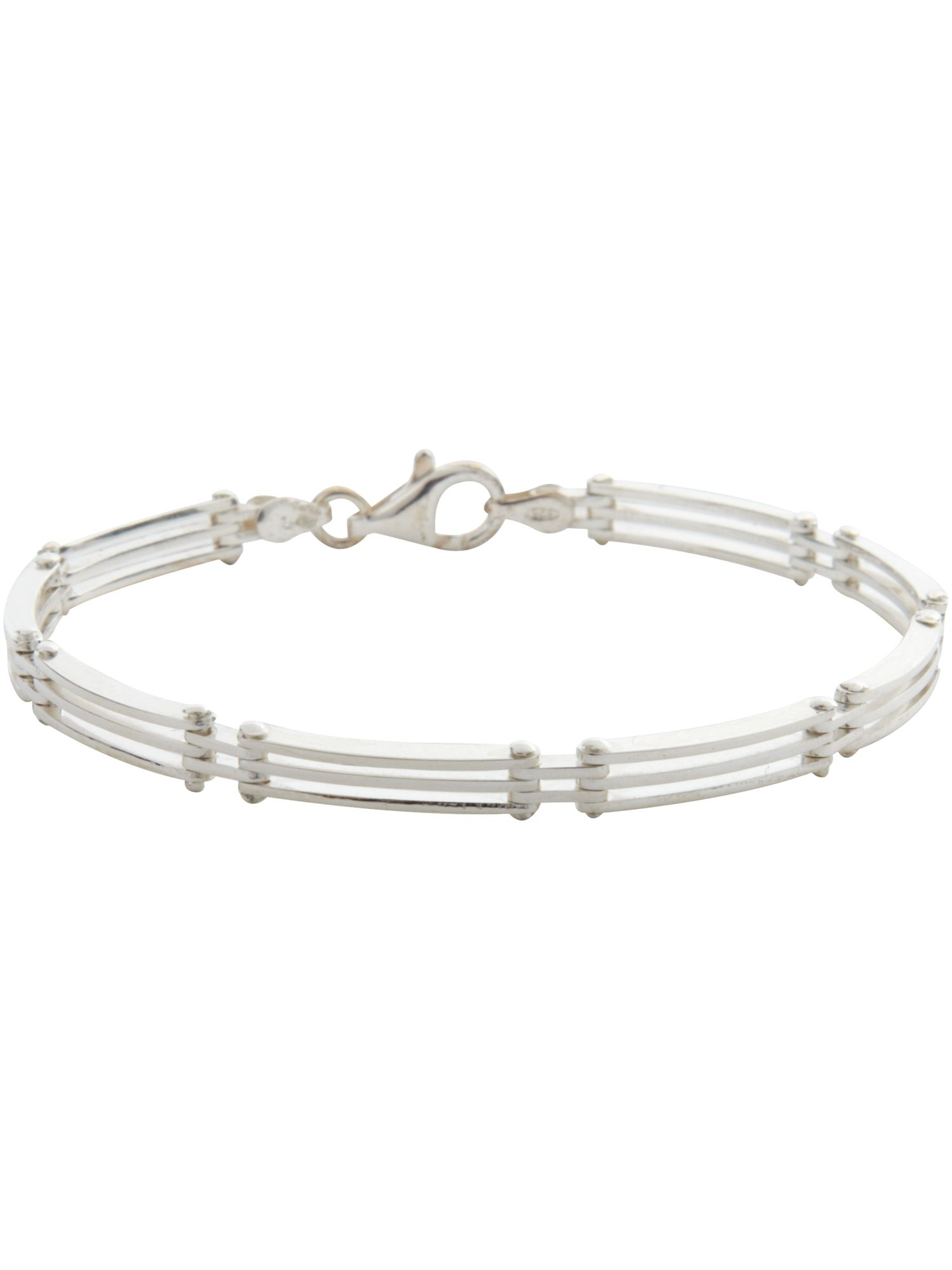 Three bar flex sterling silver bracelet