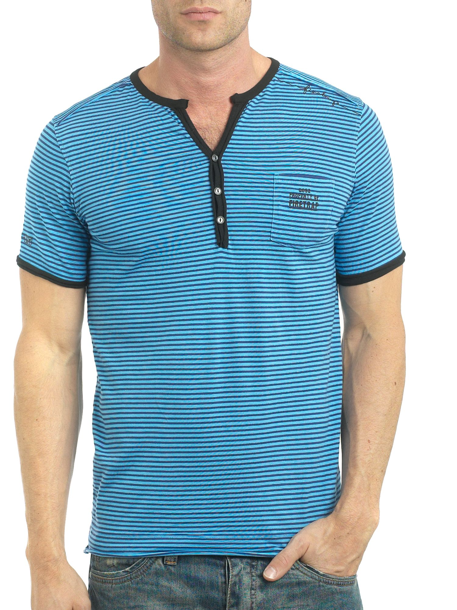 Firetrap Y neck stripe 1 pocket t-shirt product image