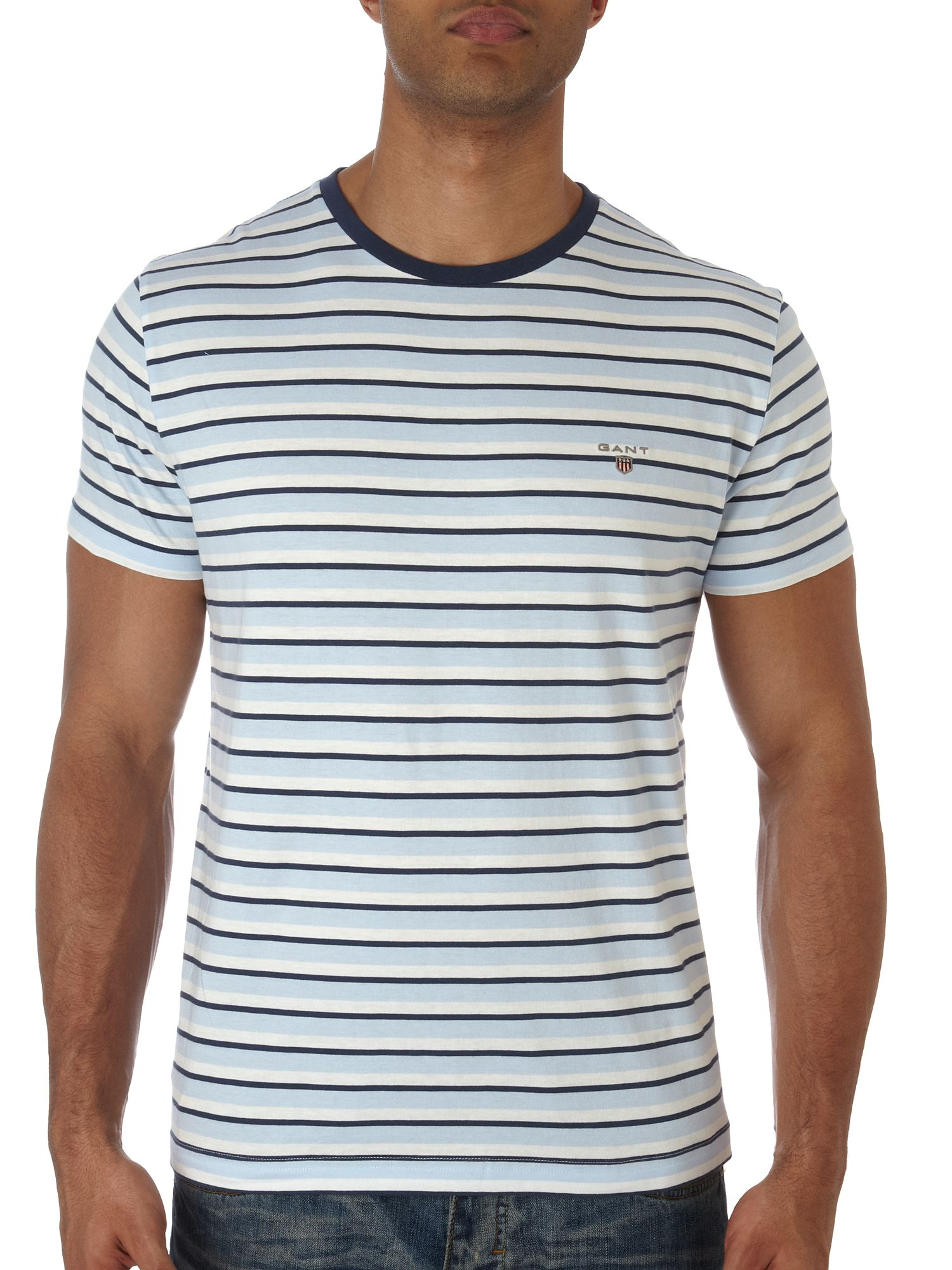 Gant Breton striped crew neck T-shirt Sky Blue product image