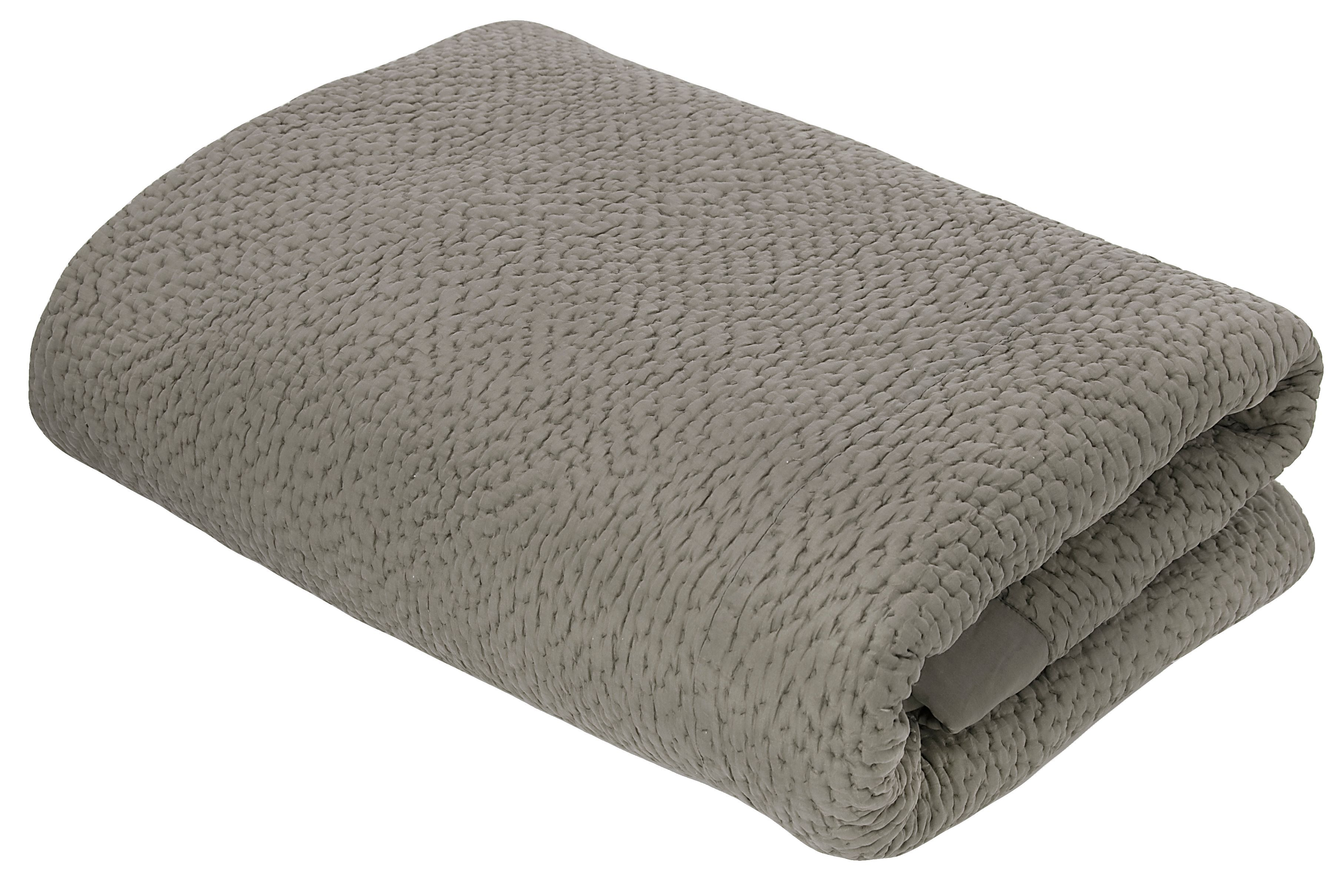 Pebble silk grey bedspread