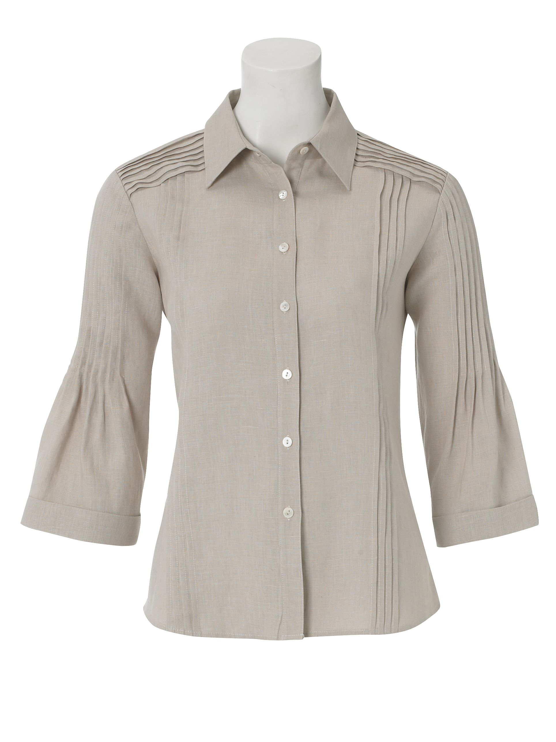 Paul Costelloe Pintuck detail blouse Beige product image