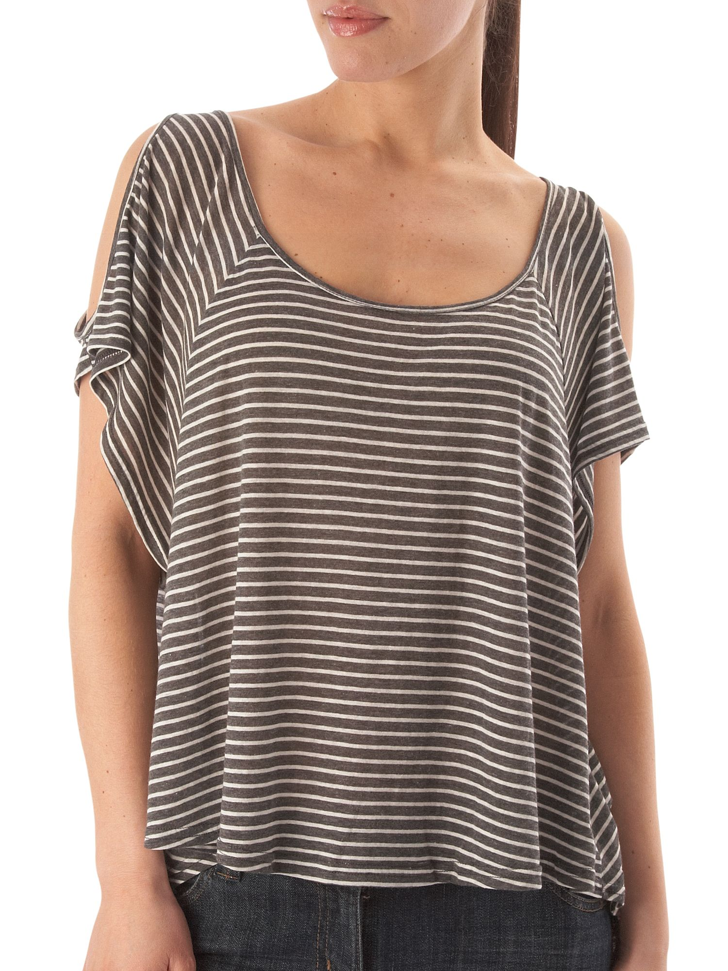 Mink Pink Slouch stripe tee Charcoal product image
