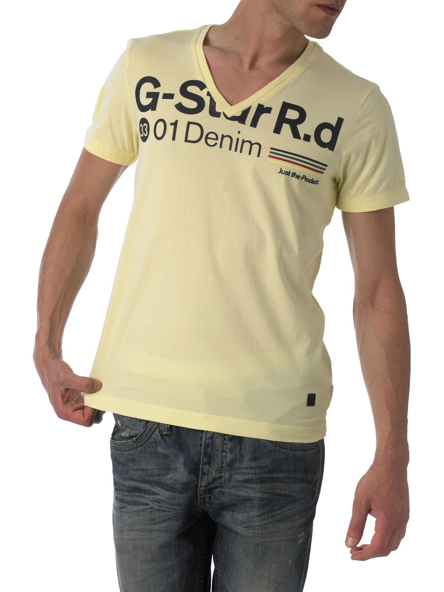 G-Star V-neck G-star T-shirt Yellow product image