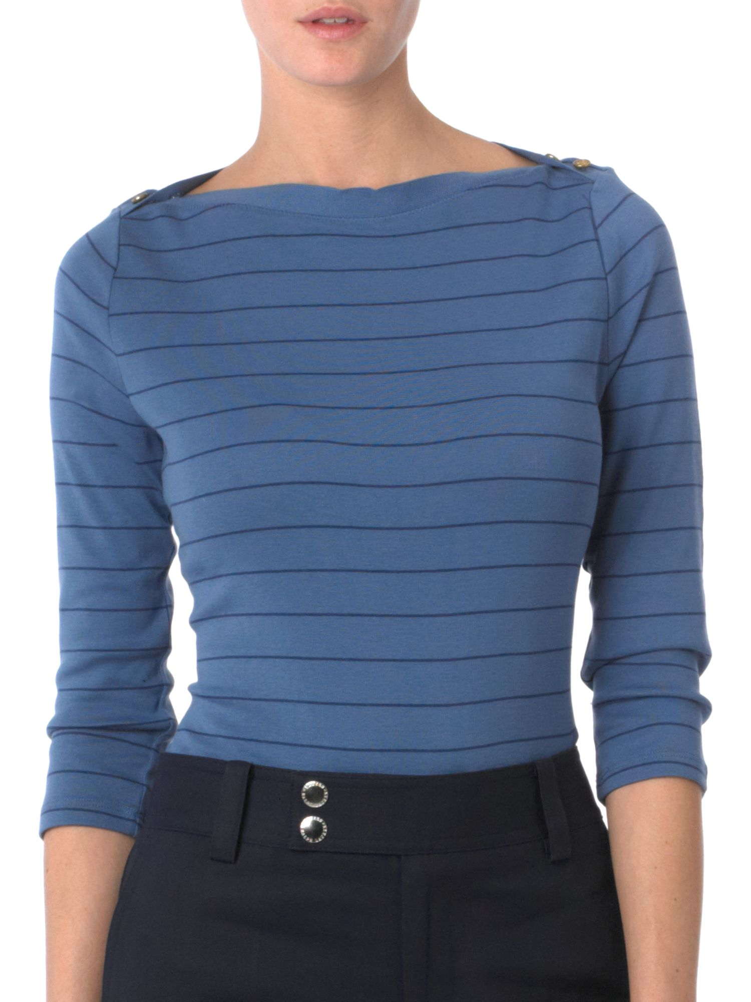 Lauren by Ralph Lauren Button shoulder stripey tee product image