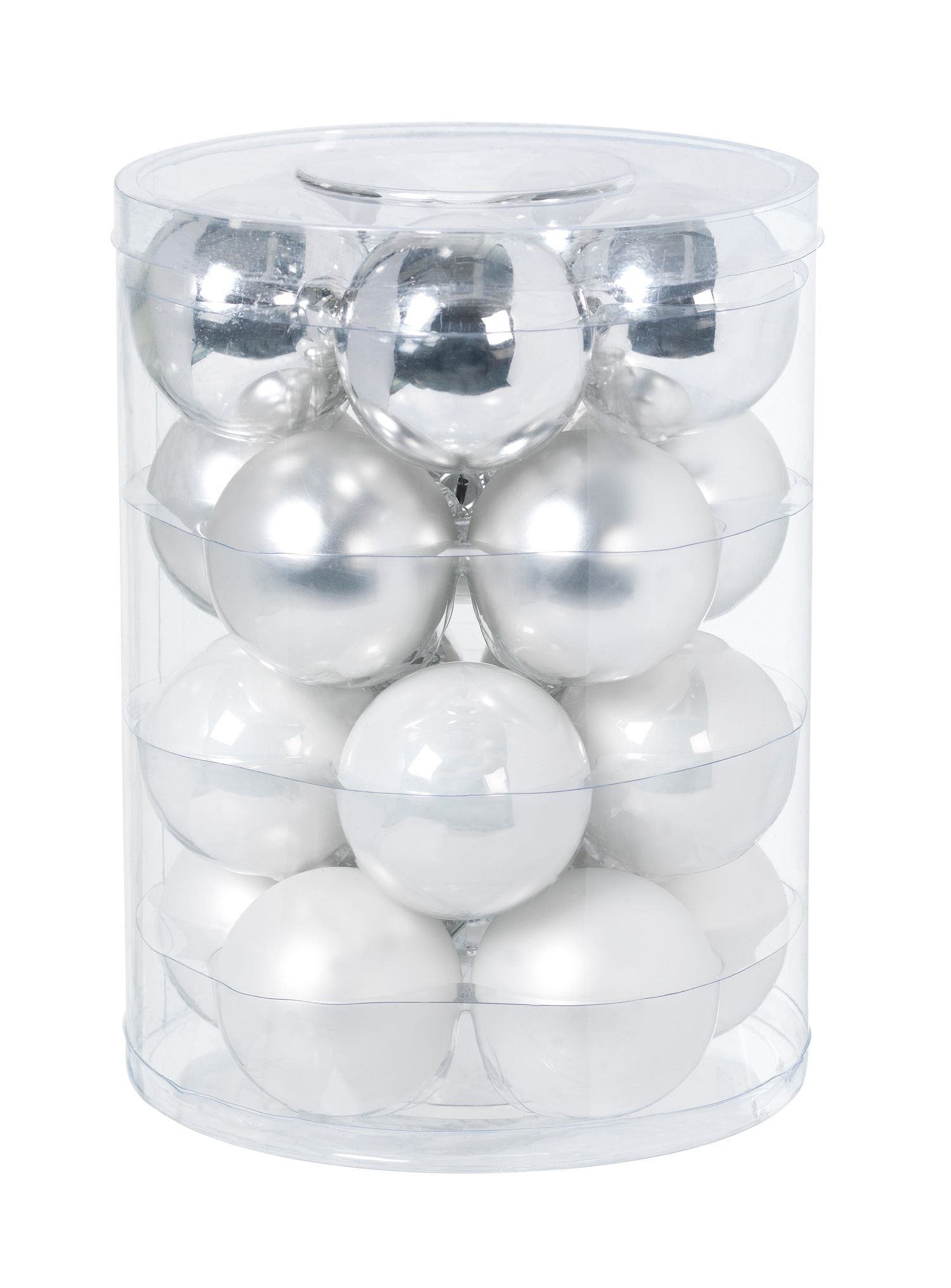 Glass silver baubles