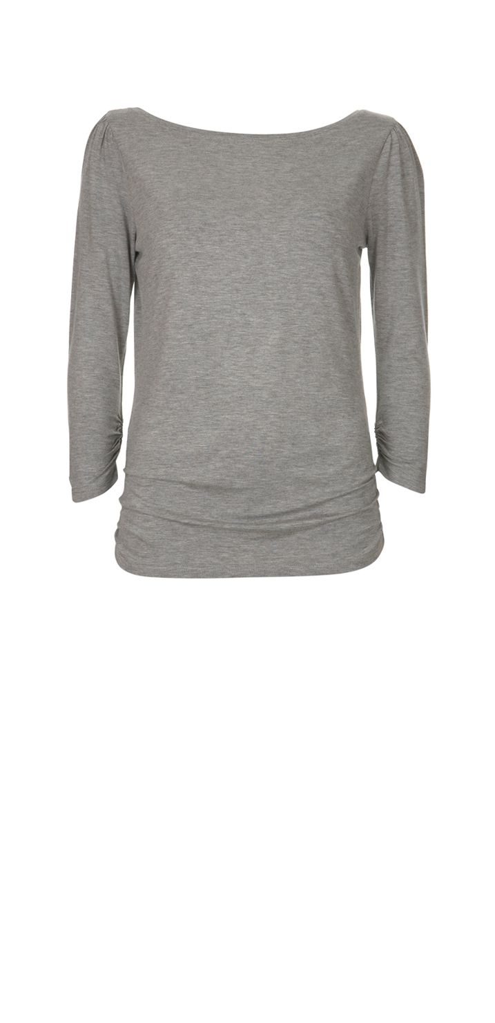 Mint Velvet Grey marl 3/4 sleeve jersey t-shirt product image