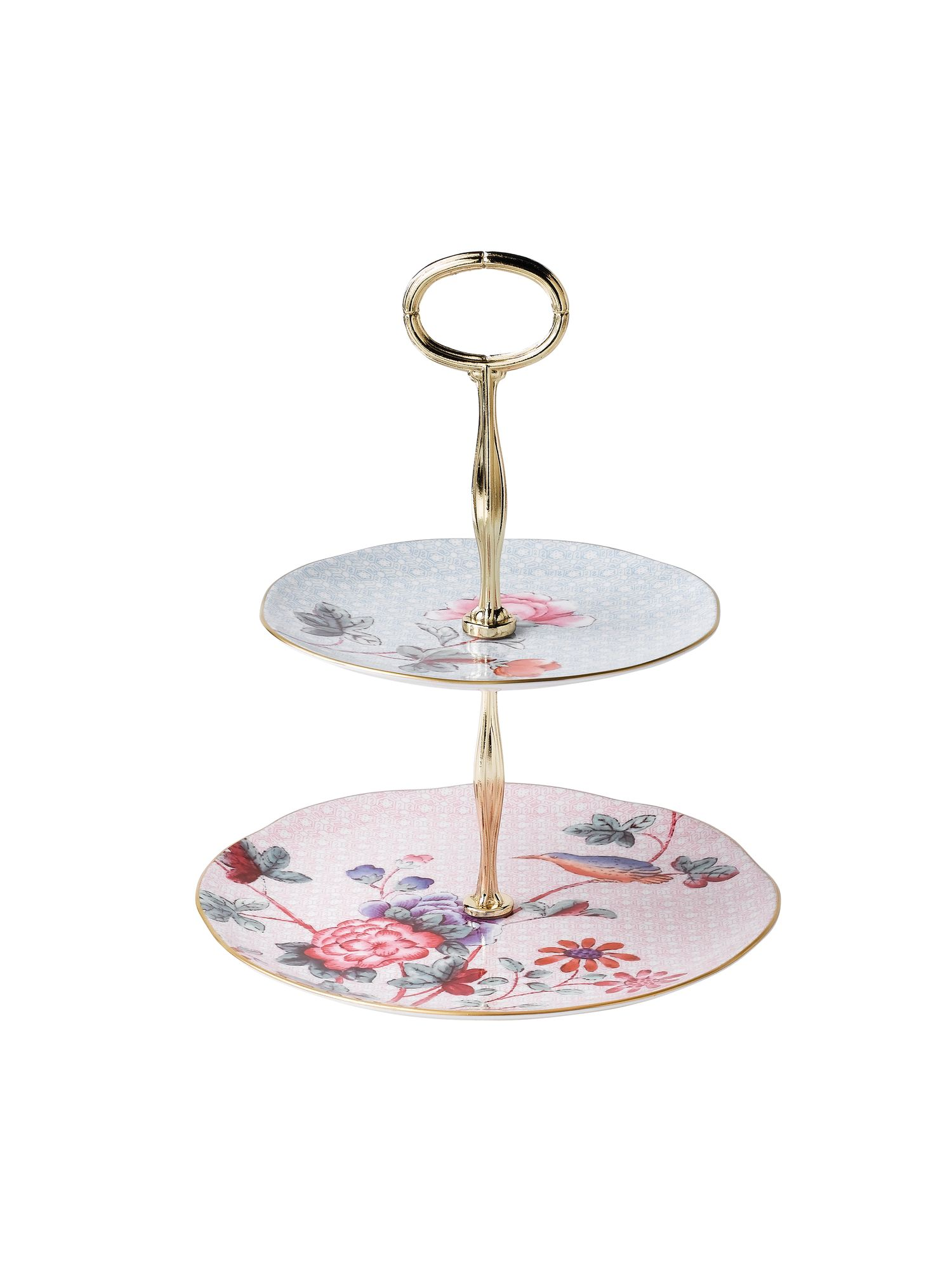 Harlequin cuckoo two tier cake stand