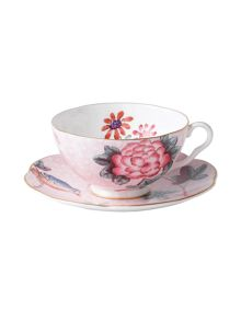 Harlequin collection pink cup and saucer
