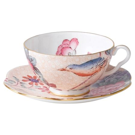 Wedgwood Cuckoo teacup&saucer set peach
