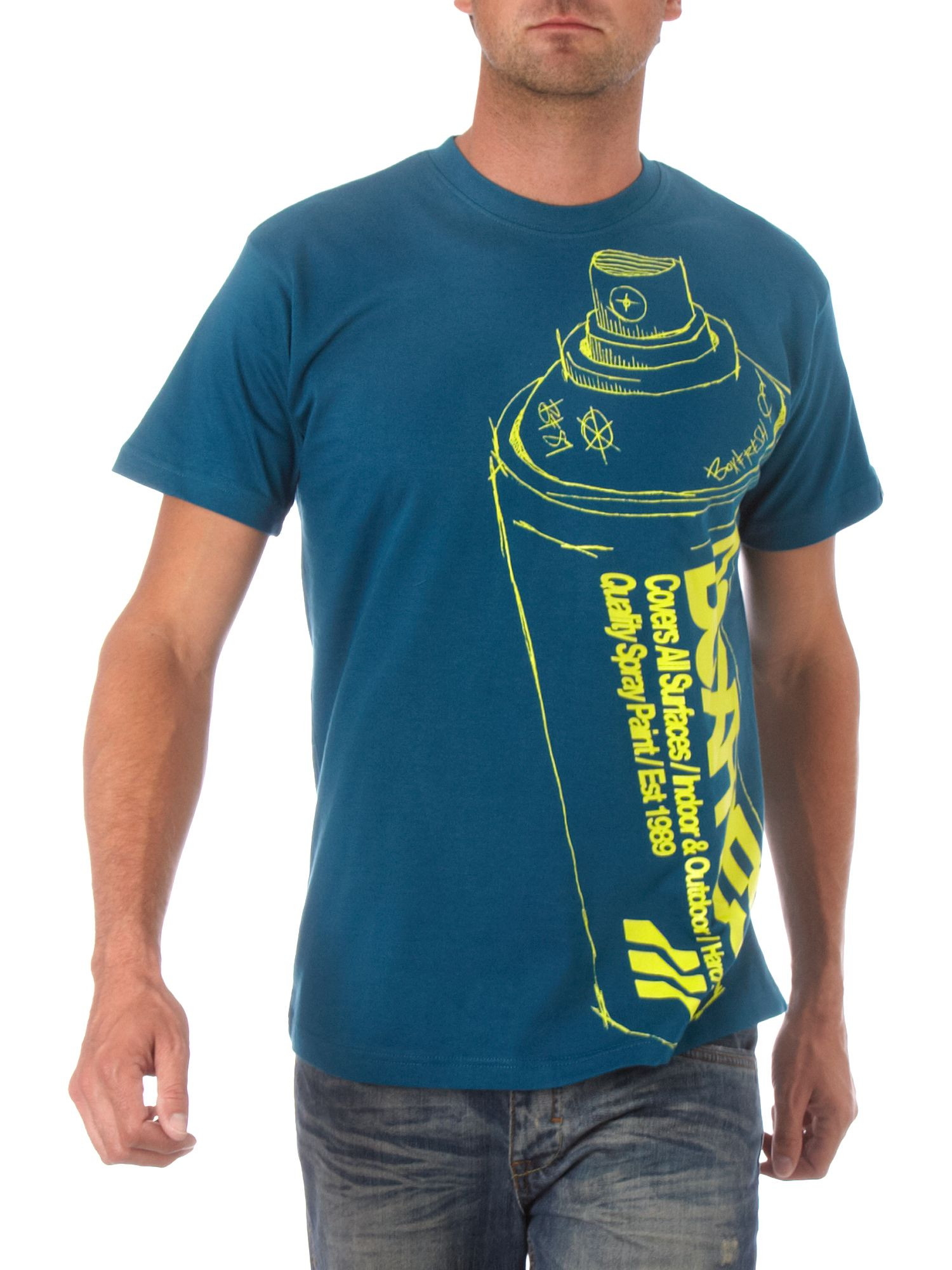 spray can T-shirt Blue