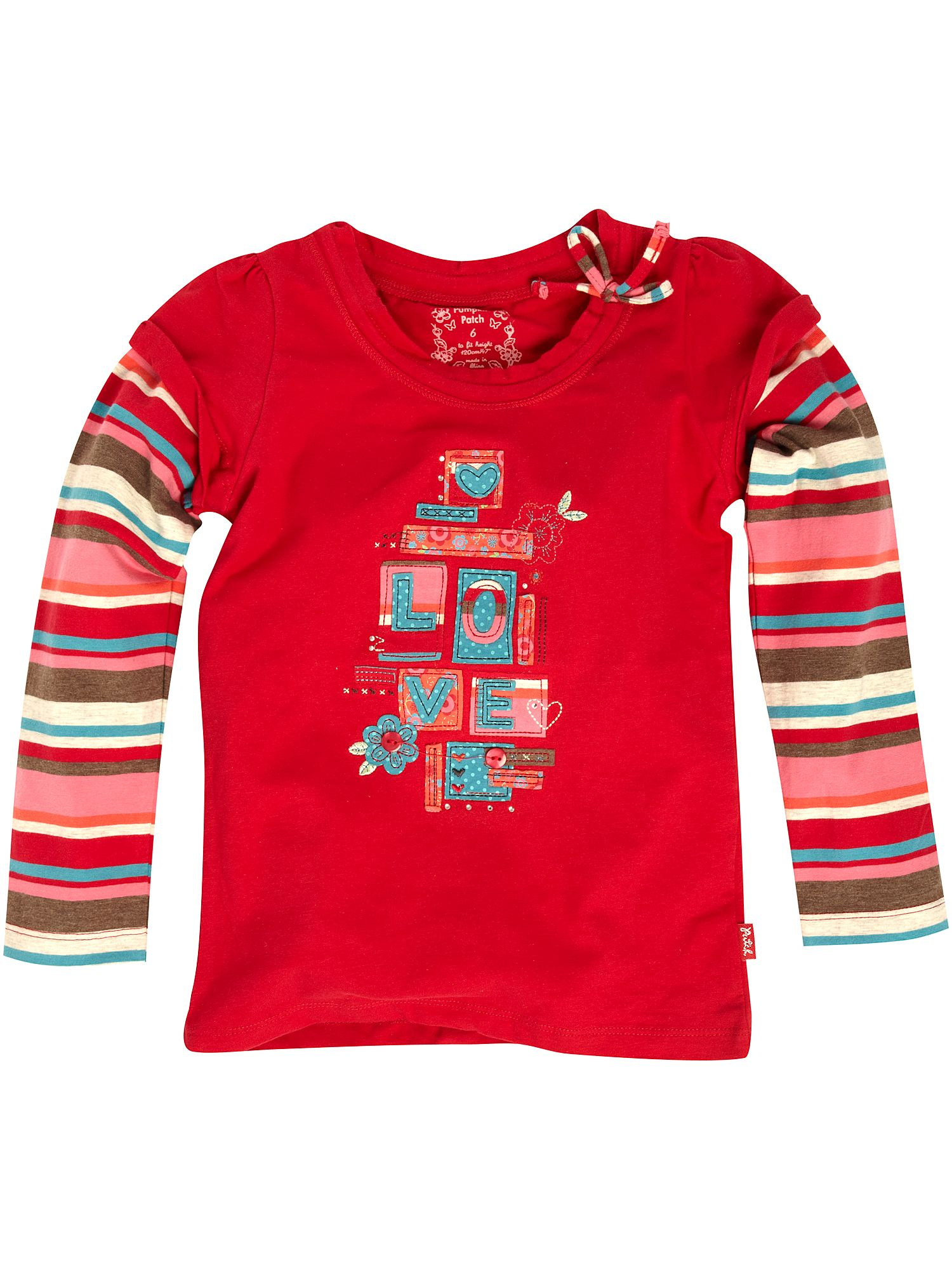 Pumpkin Patch Long-sleeved love applique T-shirt Red product image