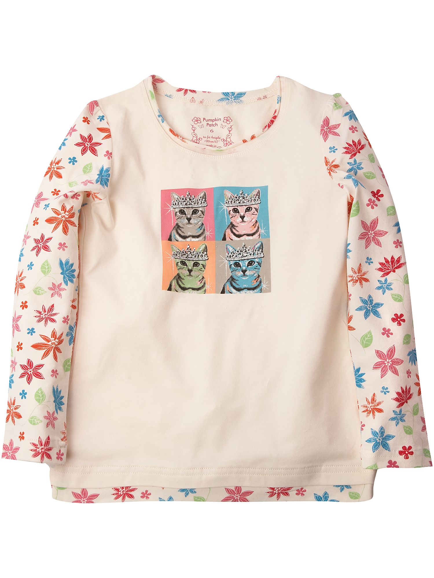 Pumpkin Patch Long-sleeved cat print T-shirt Cream product image