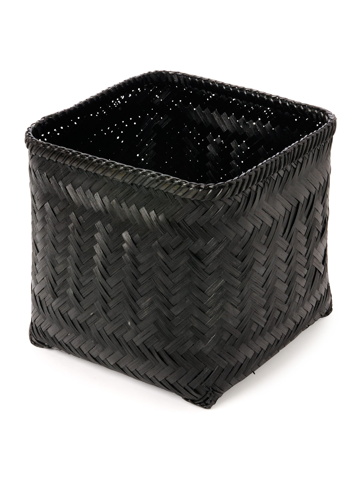 Bamboo waste bin in black