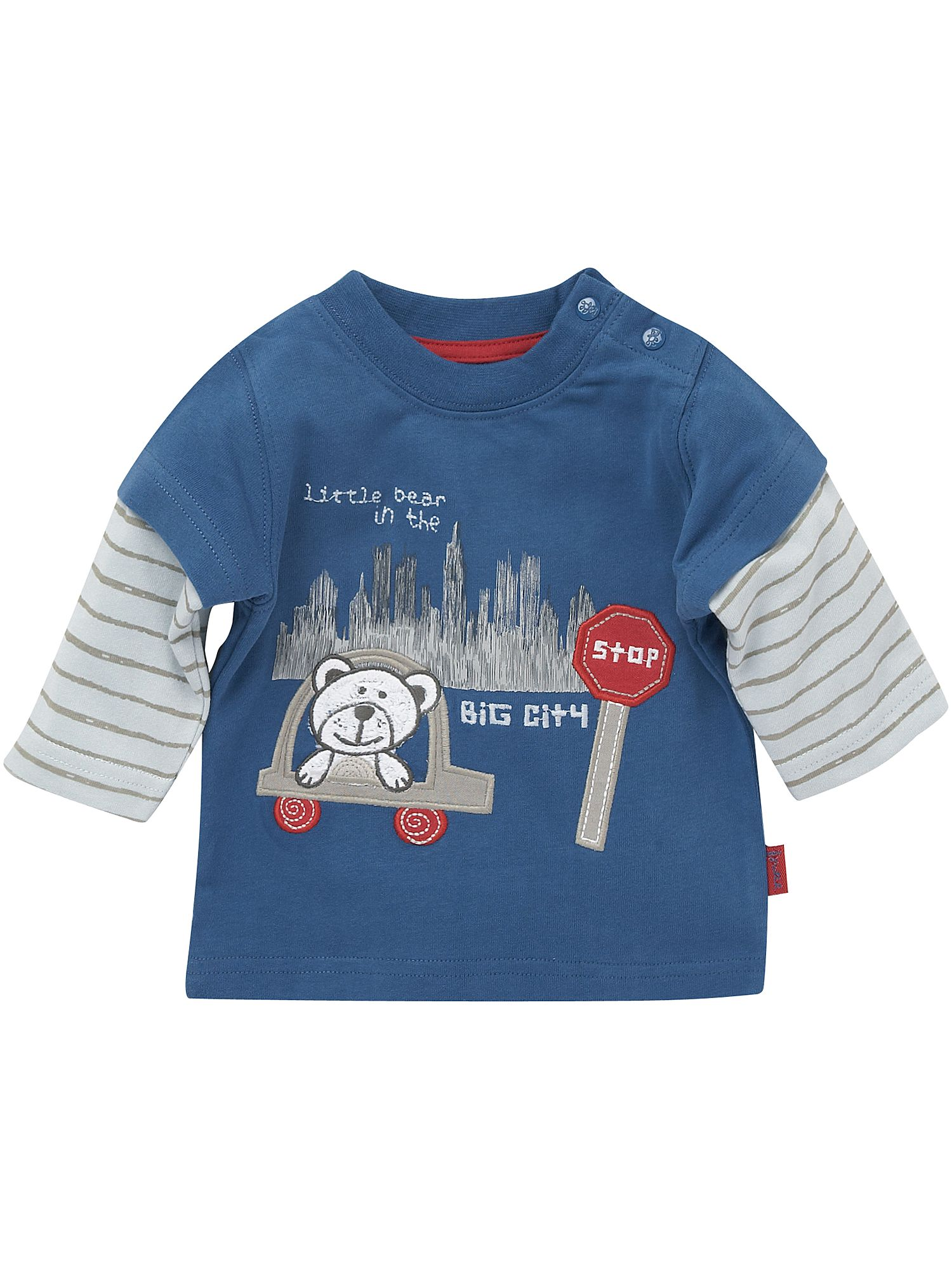 Pumpkin Patch Double-sleeve bear applique T-shirt Blue product image