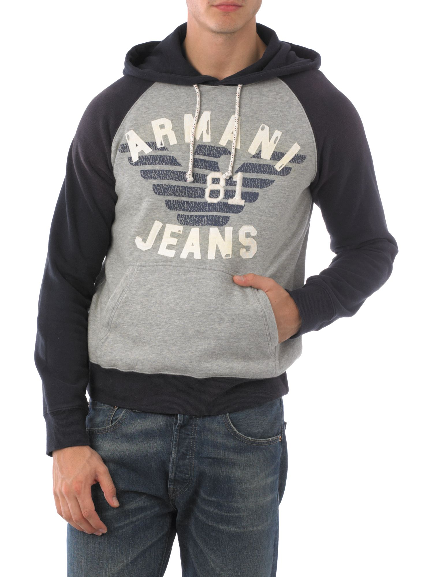 Armani Jeans Hoody logo sweatshirt Navy - review compare prices buy online