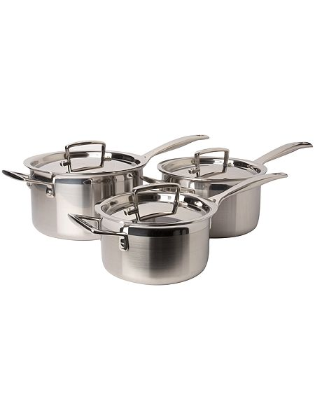 le creuset 3 ply stainless steel 3 piece saucepan set. Black Bedroom Furniture Sets. Home Design Ideas