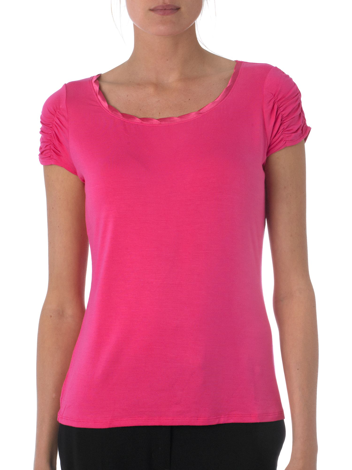 T Tahari Ruched sleeve tee Pink product image