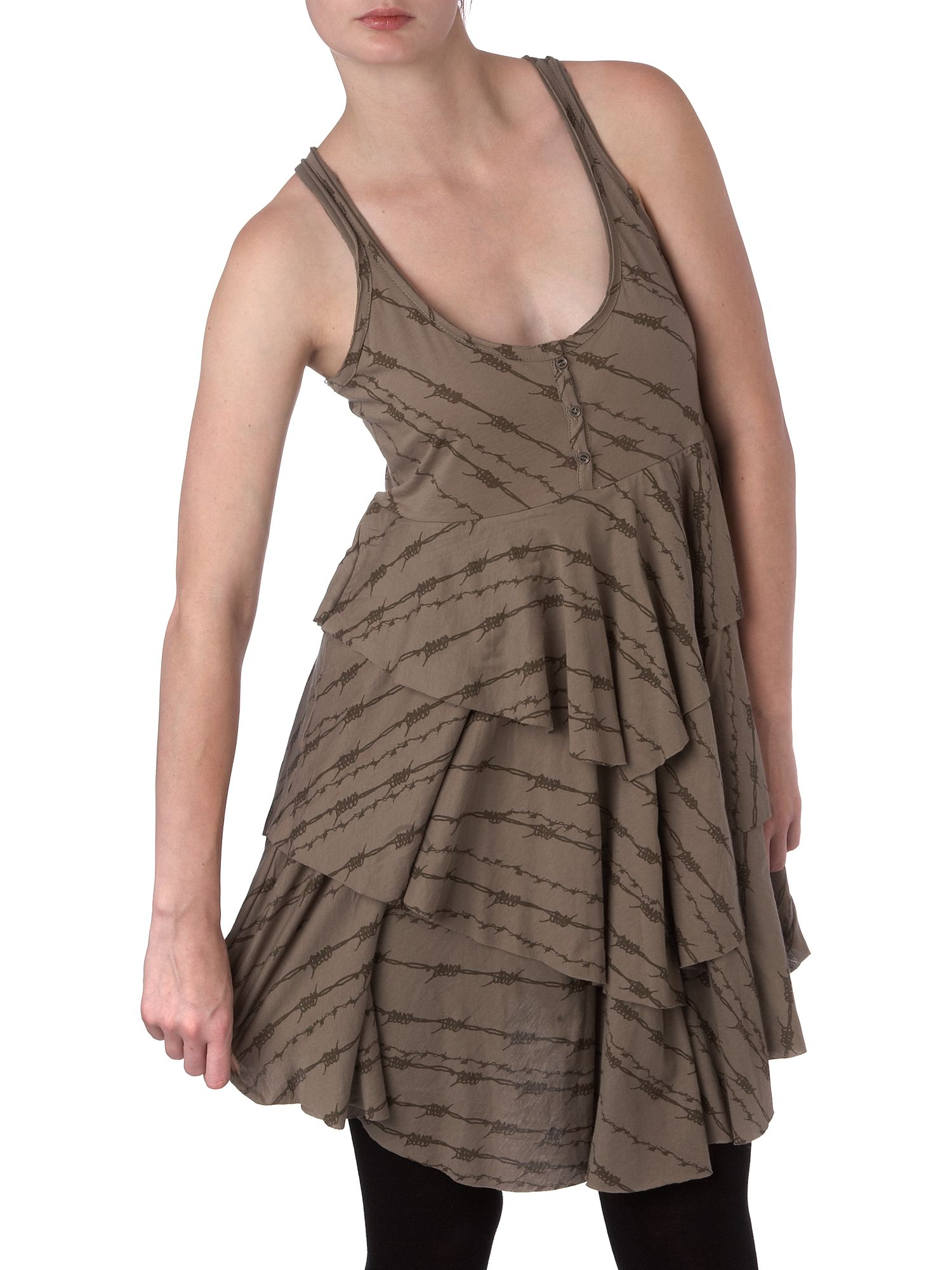 Barbed wire chevron layer dress Khaki