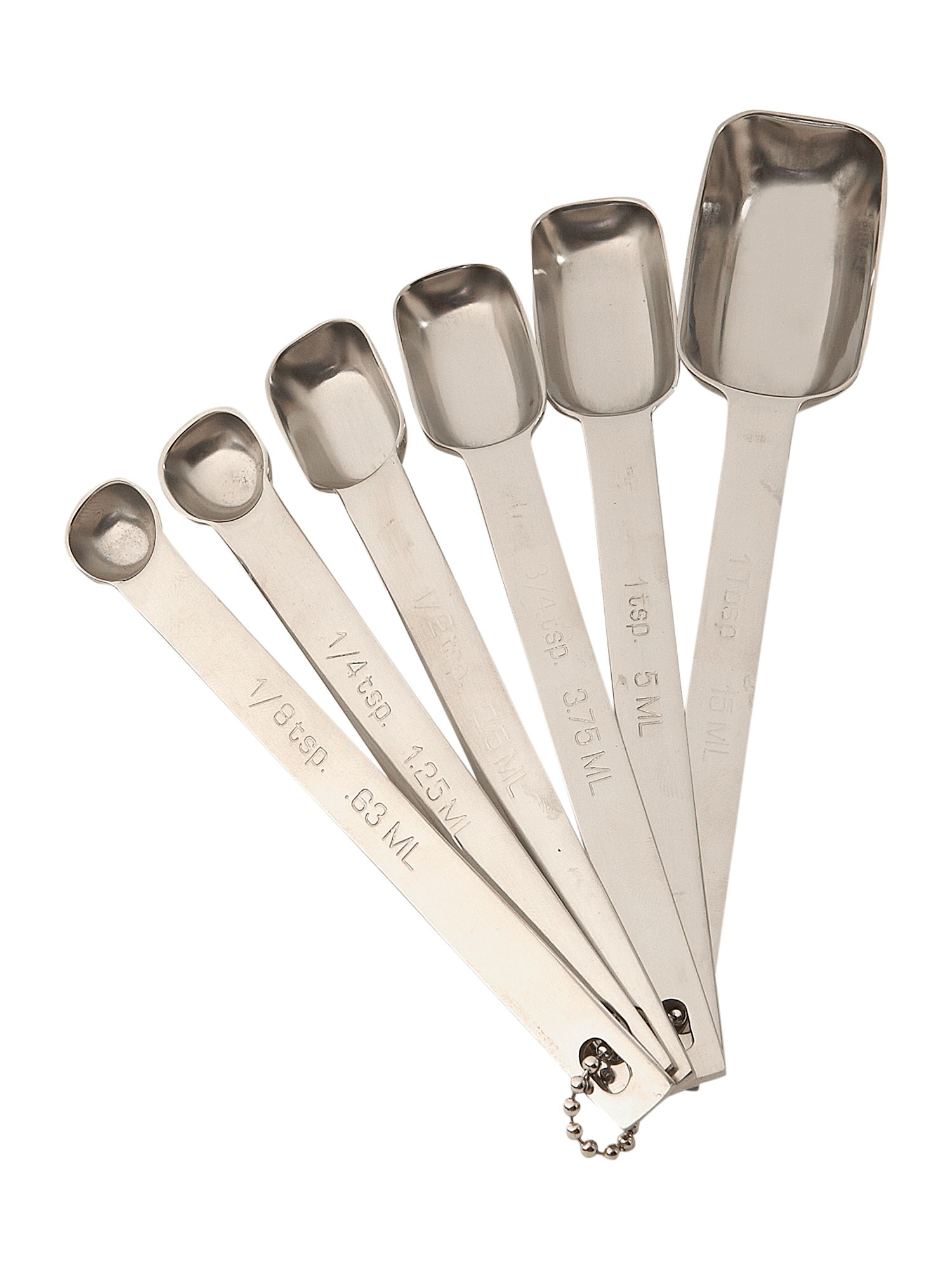 6 piece stainless steel measuring spoon set