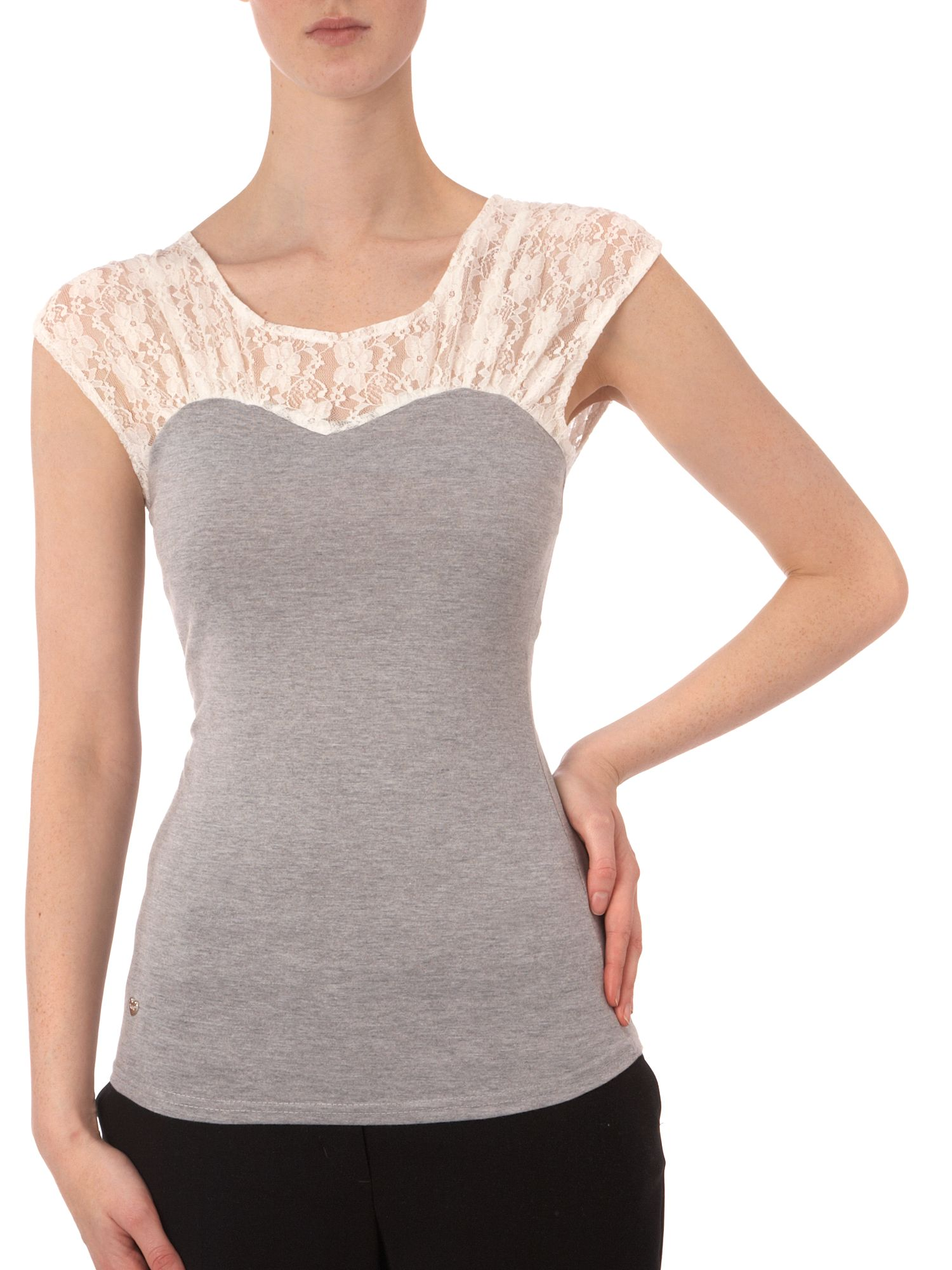 Yumi Jersey tee with lace top Grey product image