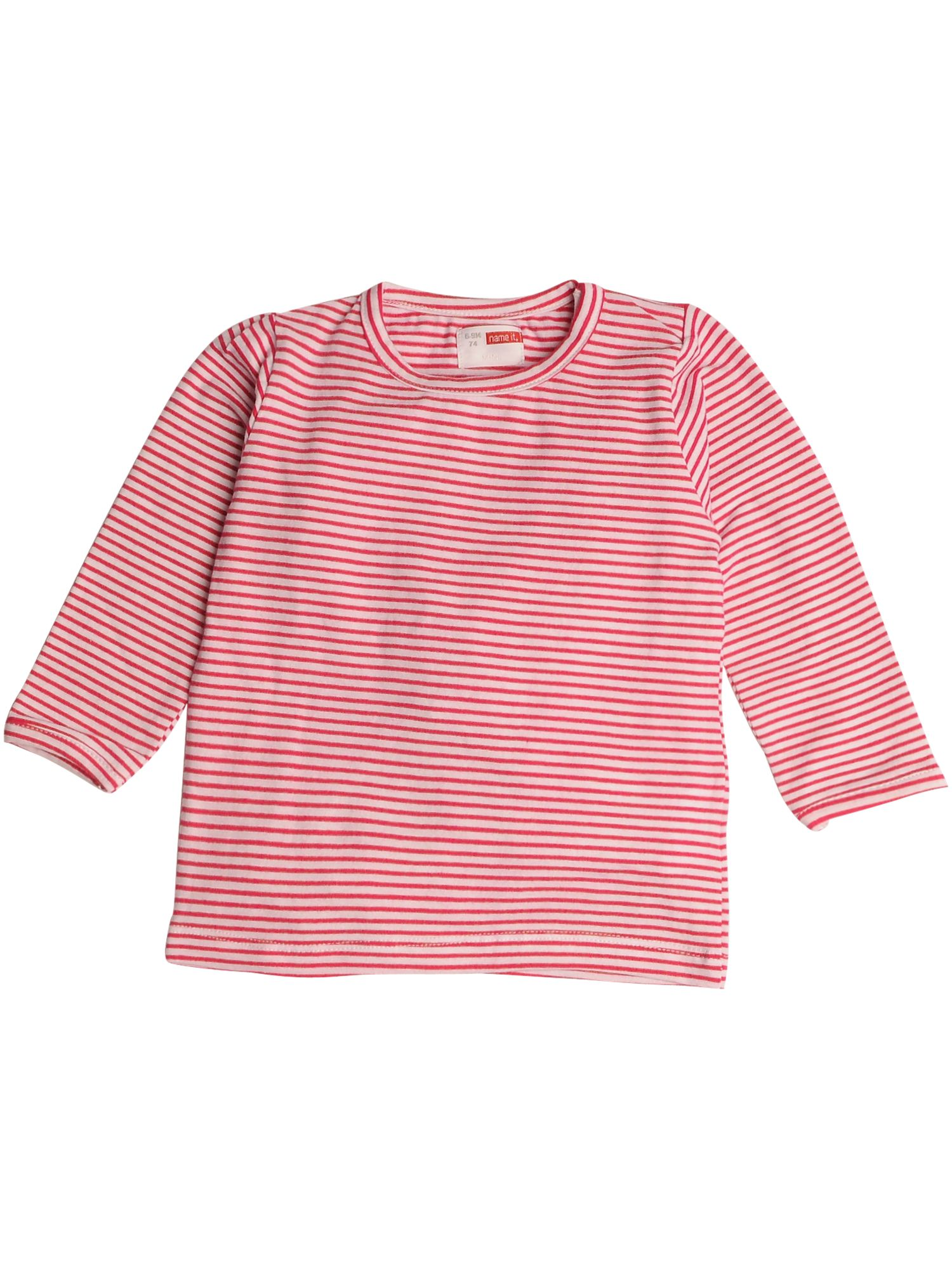 name it Long-sleeved striped T-shirt - Pink `6 mths product image
