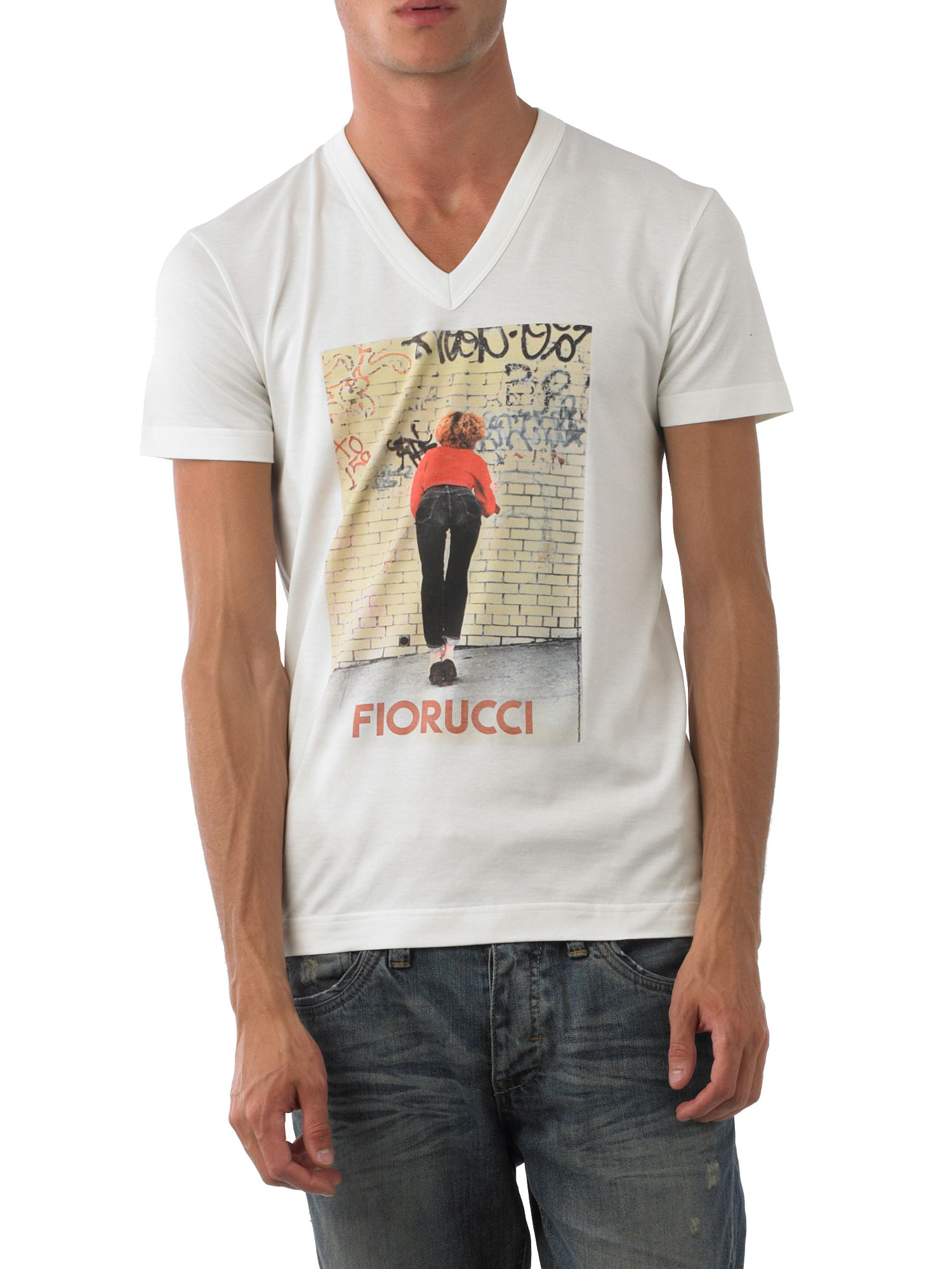 D&G V-neck fiorucci t-shirt White product image