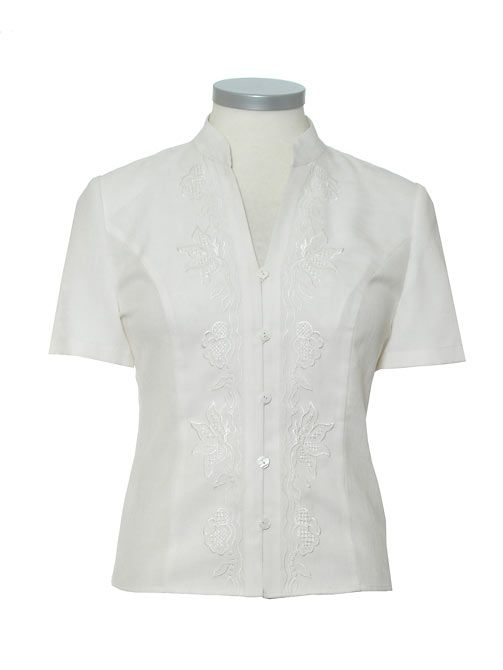Eastex Short sleeve mandarin embroidered blouse product image