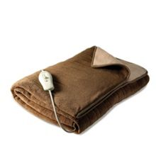 75320 cream and brown electric blanket throw