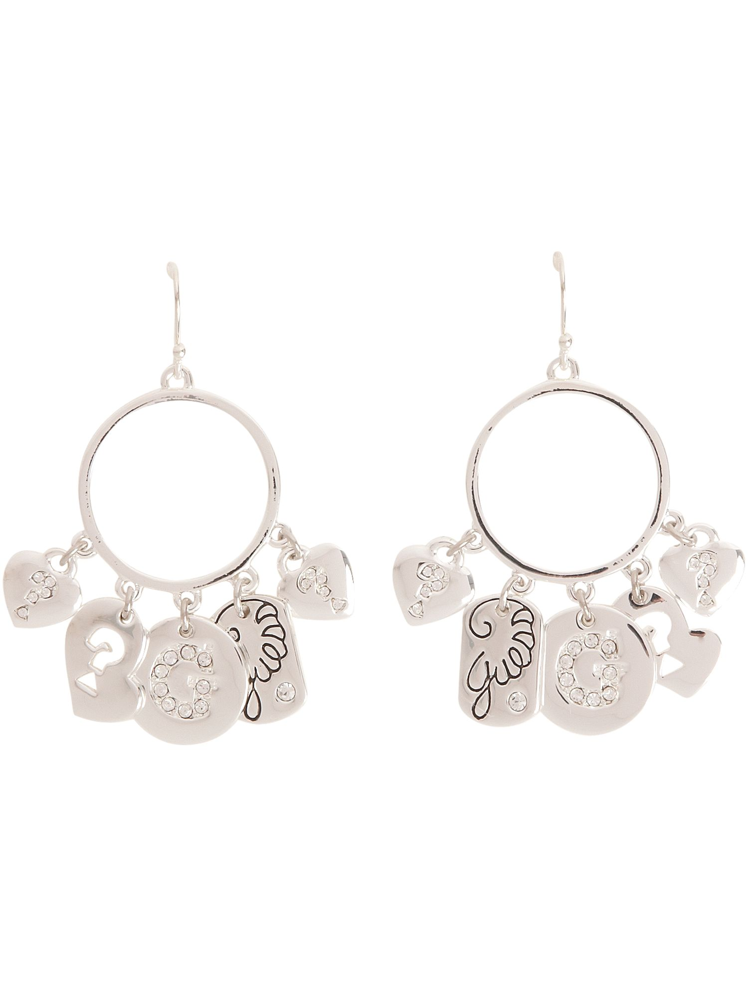 Guess Gypsy charm silver plated hoop earrings product image