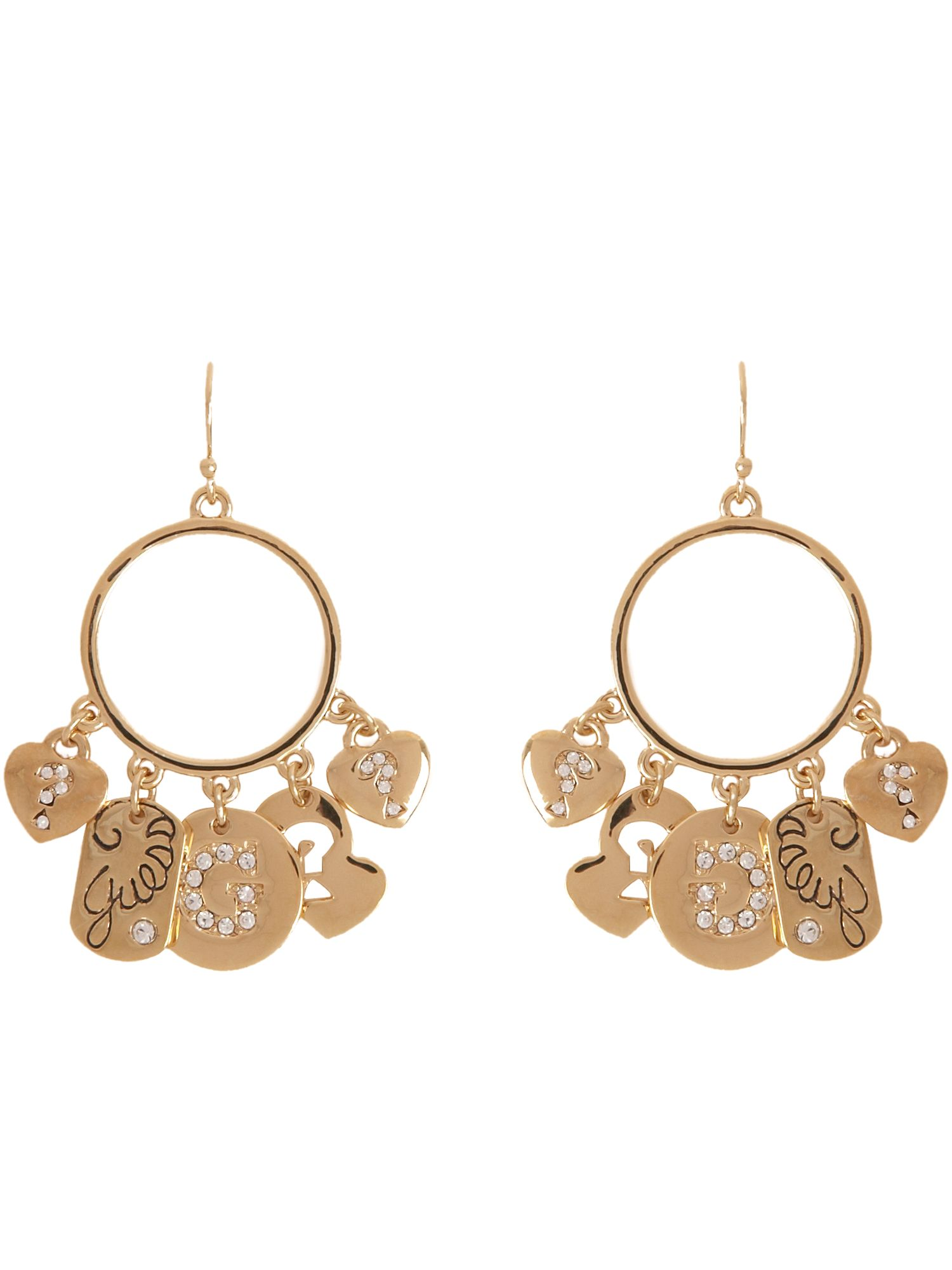 Guess Gypsy charm gold plated hoop earrings product image