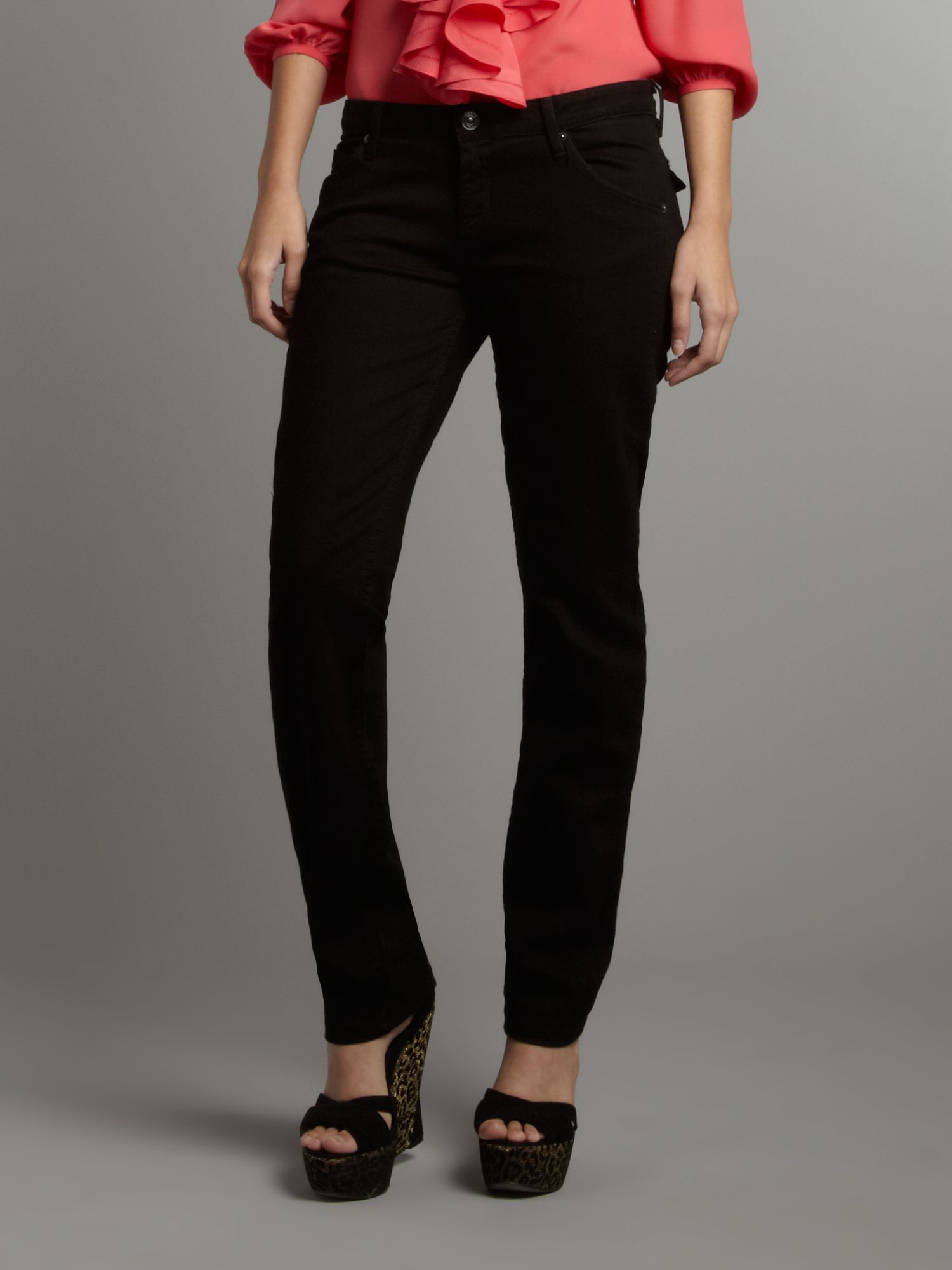 Carly mid rise straight leg jean in Black Ice