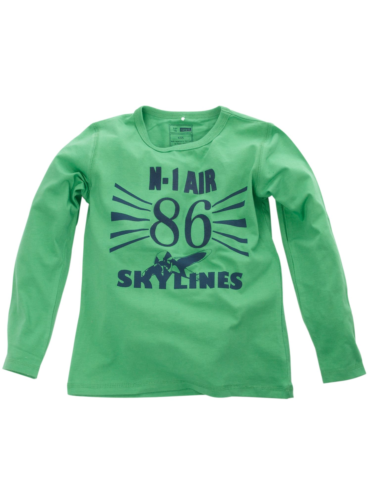Name it long sleeved air force print t shirt green 10 for Print name on shirt