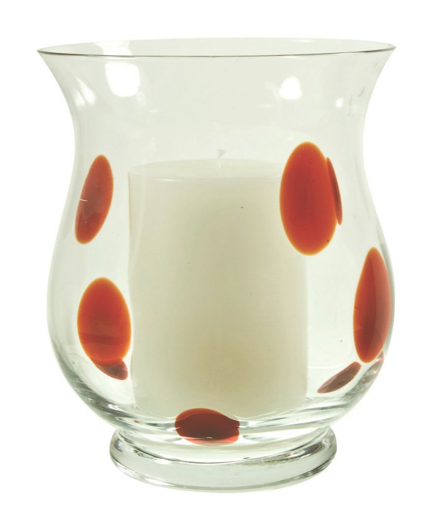 Red domino 5 inch hurricane and candle