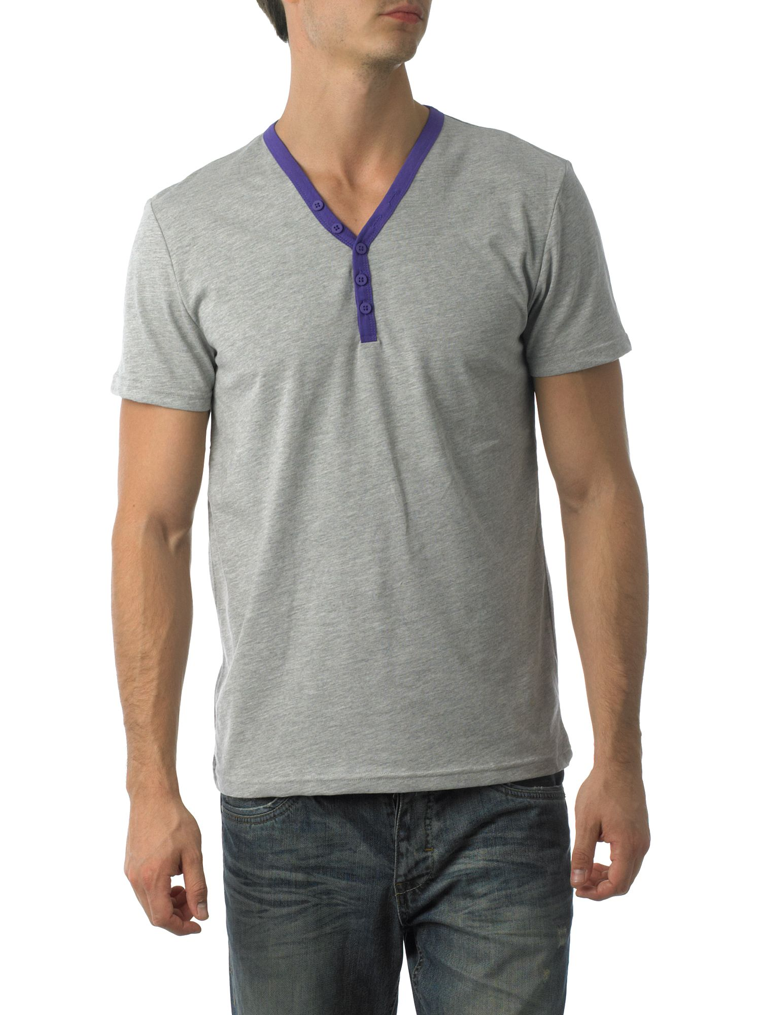 Linea Northwick- Basic Henley neck T-shirt Violet product image