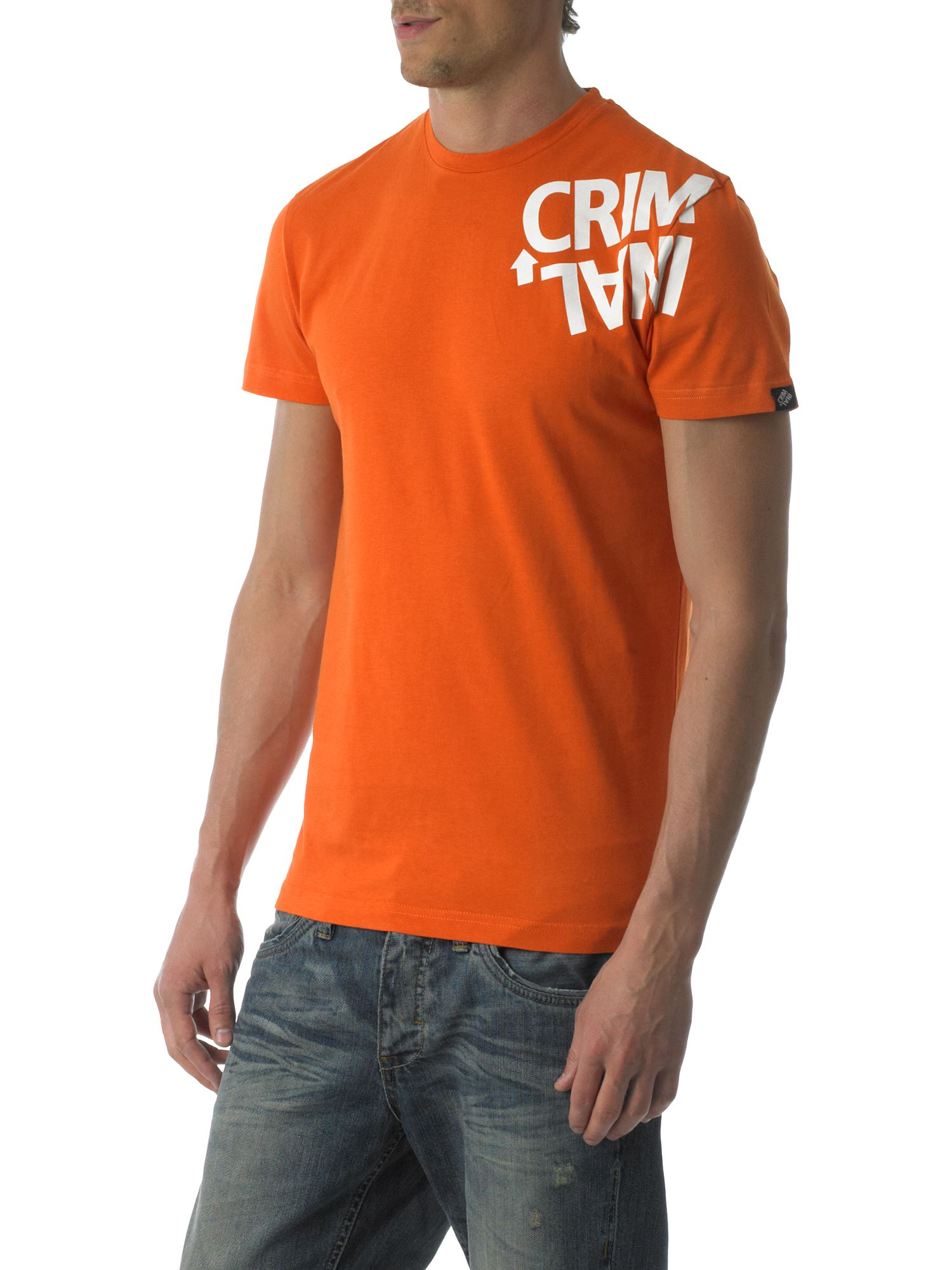 Criminal Twisted logo print crew-neck T-shirt Burnt Orange product image