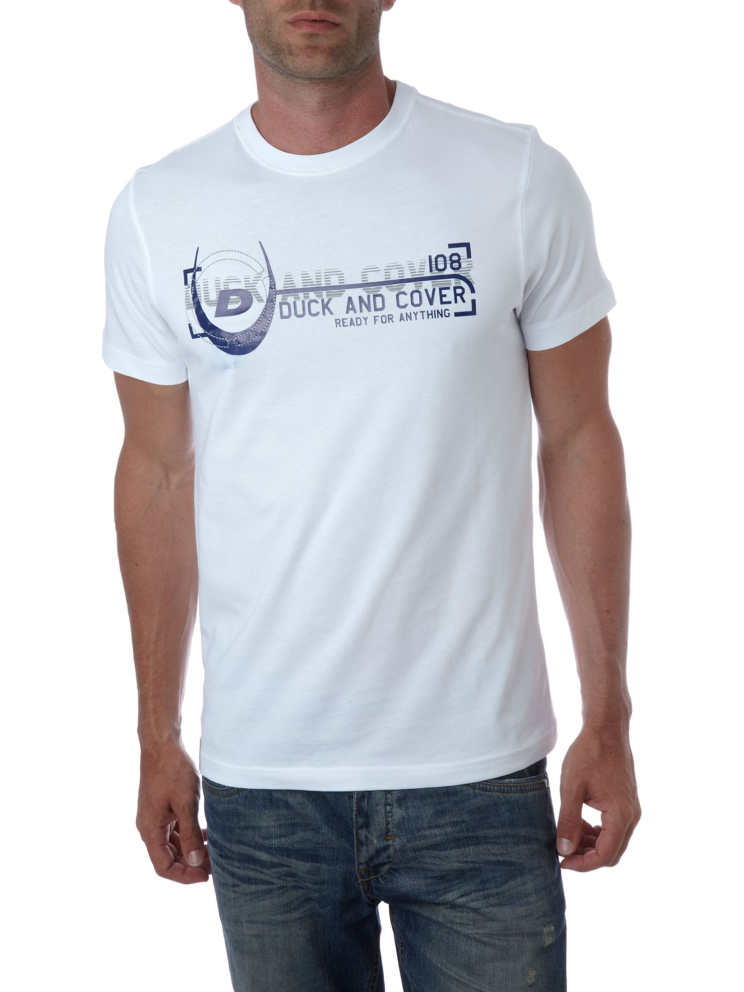 Duck and Cover Logo strip T-shirt White product image