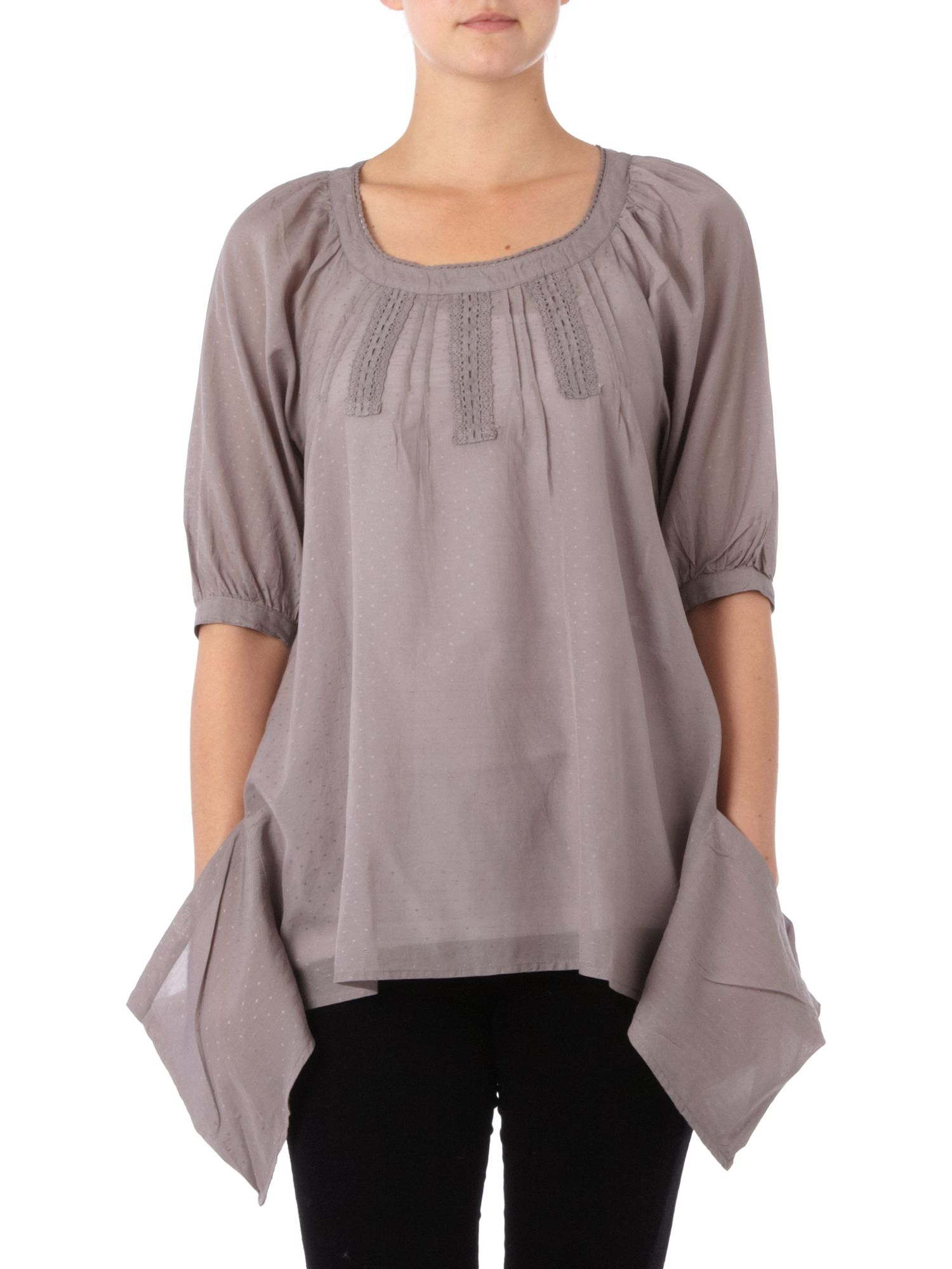 Linea Weekend Dobby spot hanky hem blouse Smoke product image
