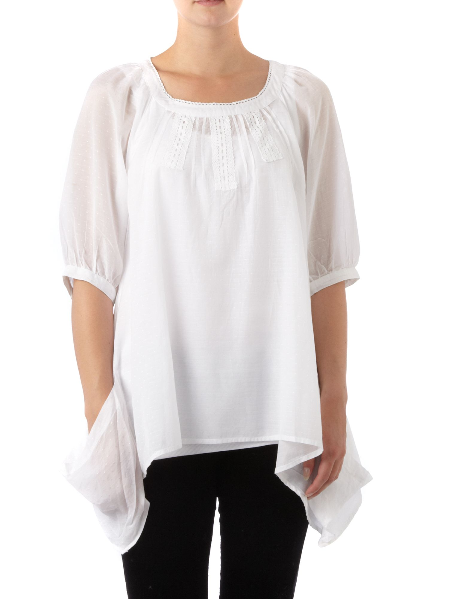 Linea Weekend Dobby spot hanky hem blouse White product image