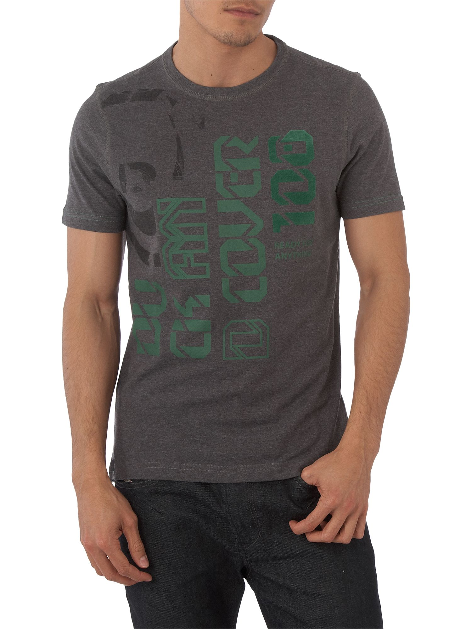 Duck and Cover Digital print T-shirt Dary Grey Marl product image