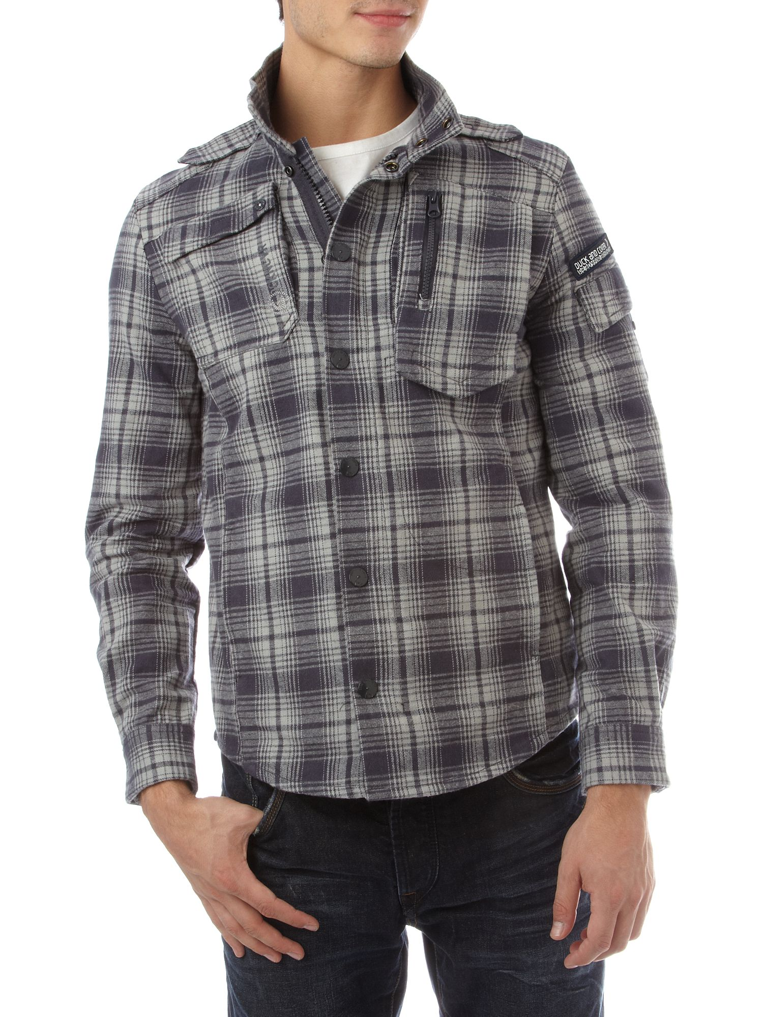 Duck and Cover Checked jacket Steel product image