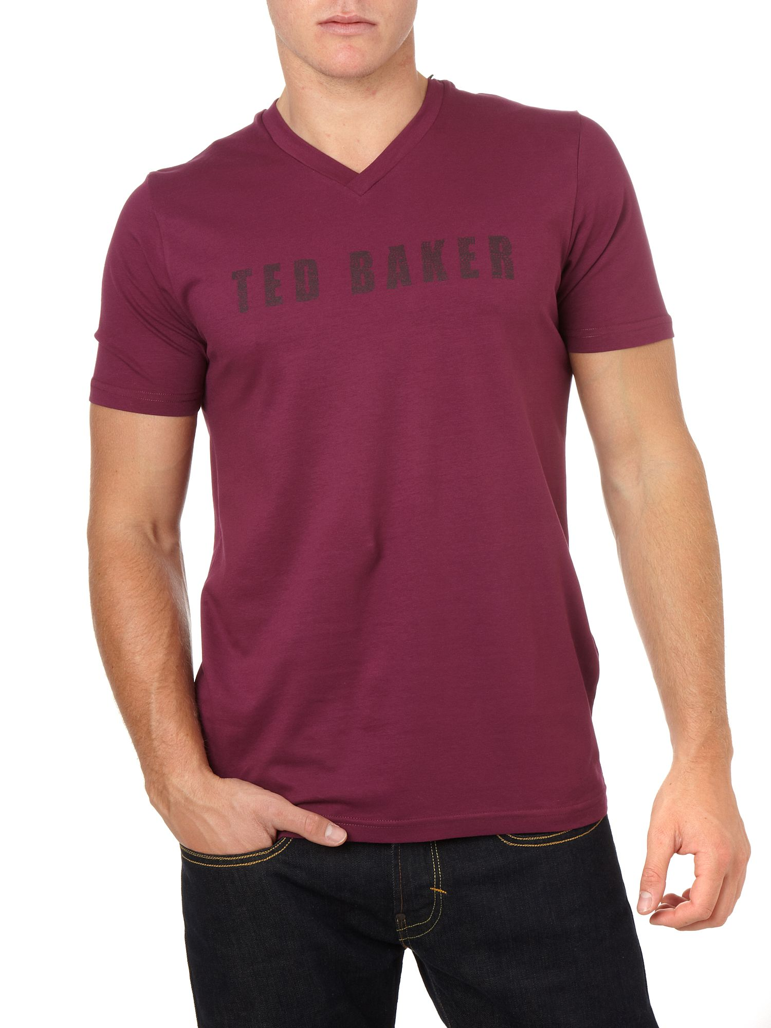 Ted Baker Logo print v neck t-shirt Purple product image
