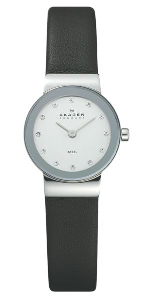 Skagen 358XSSLBC Classic Black Leather Ladies Watch