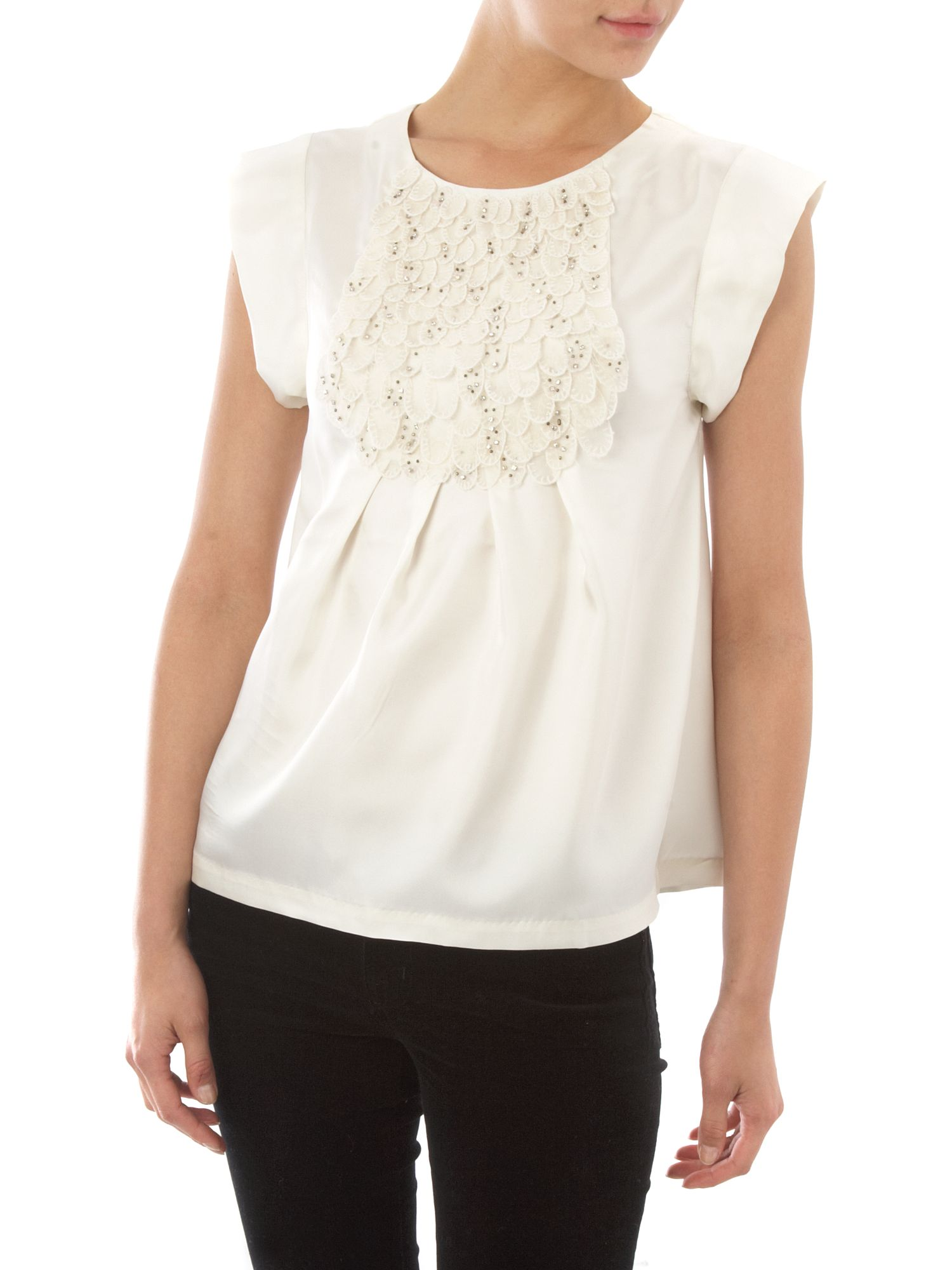Paul & Joe Sister Short sleeve silk blouse Cream product image