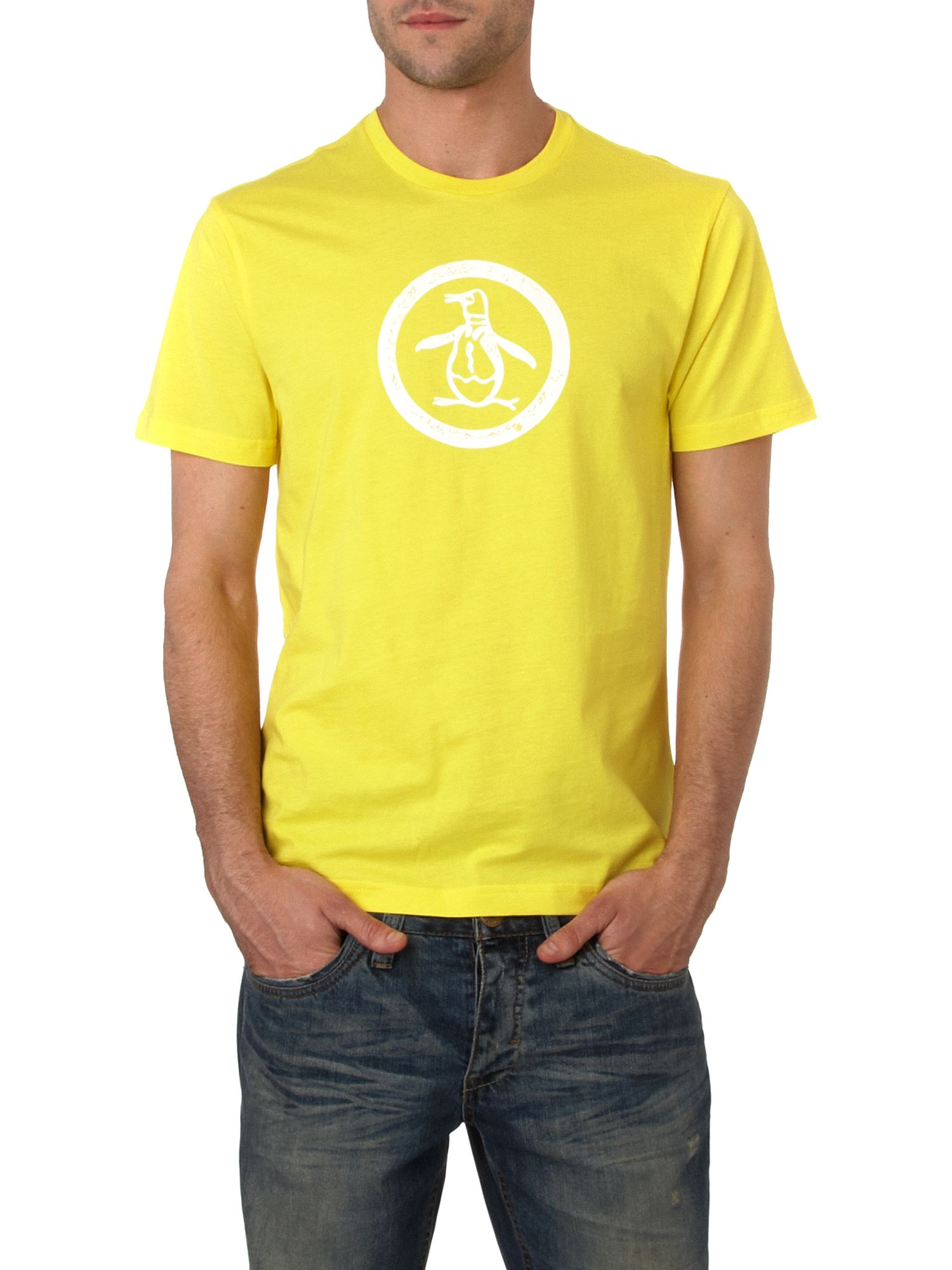Original Penguin Distressed circle logo T-shirt Yellow product image