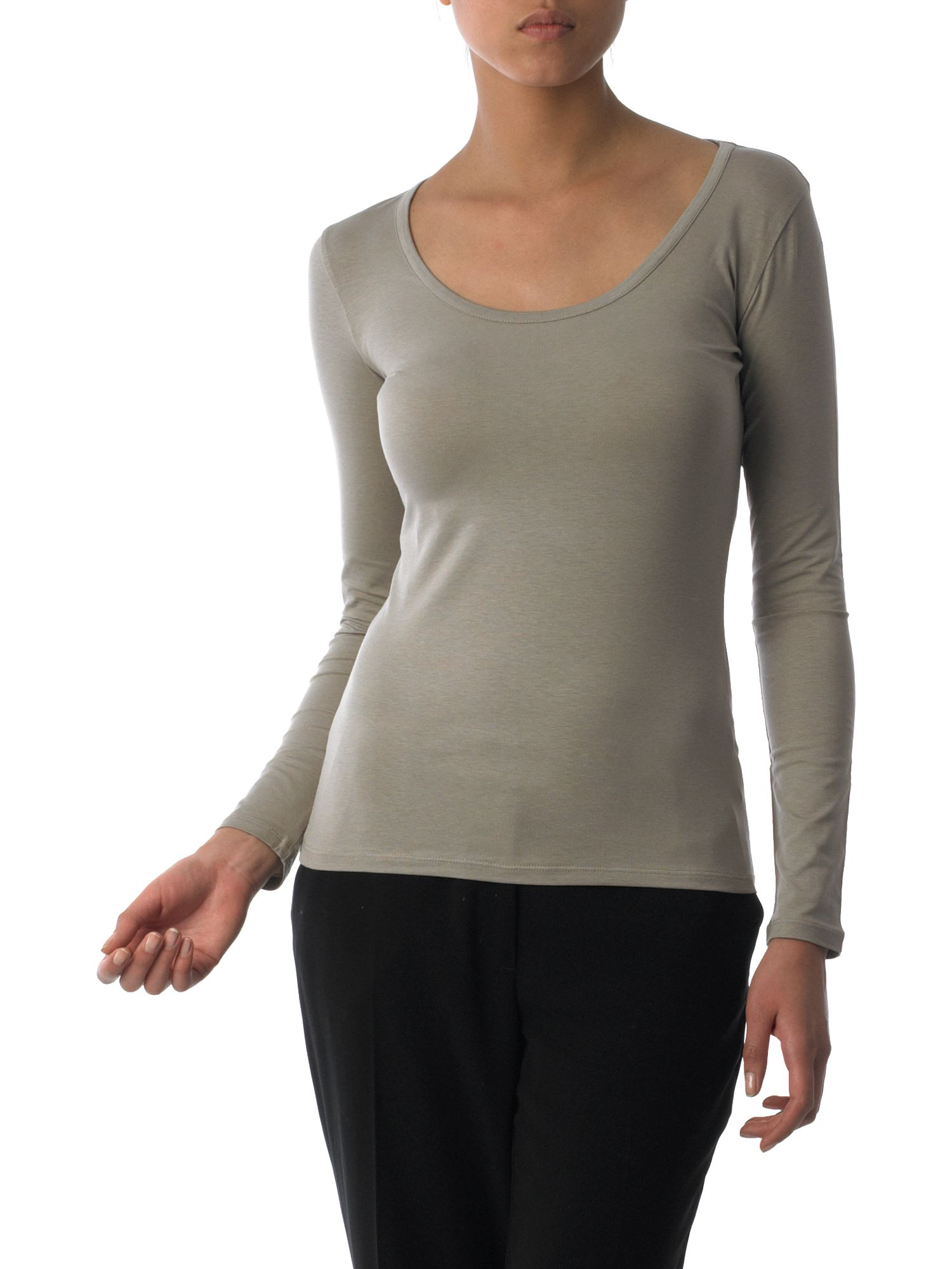 MaxMara Weekend Long sleeved cotton t-shirt Stone product image