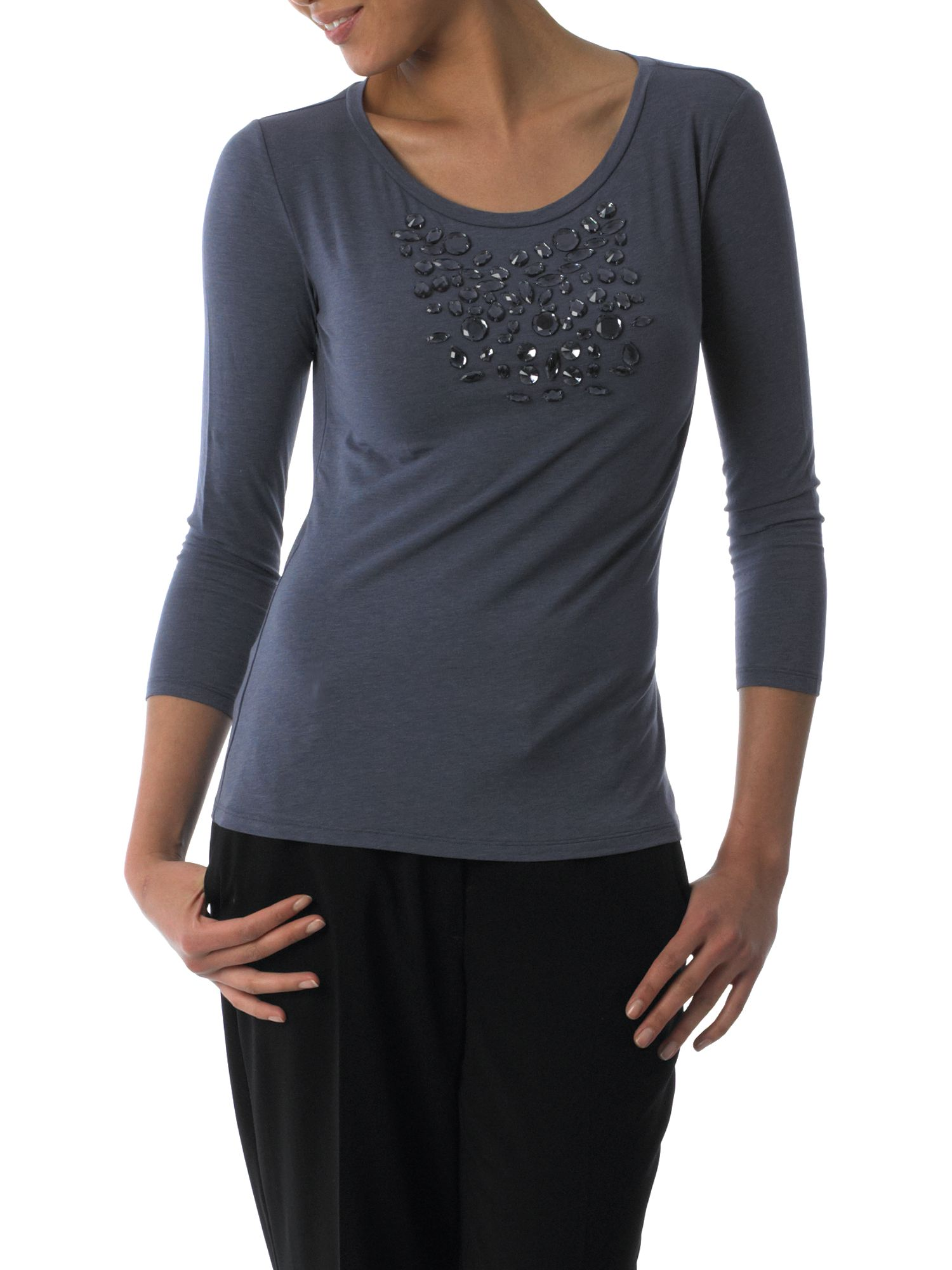 MaxMara Weekend Stone detail crew neck tee Mauve product image
