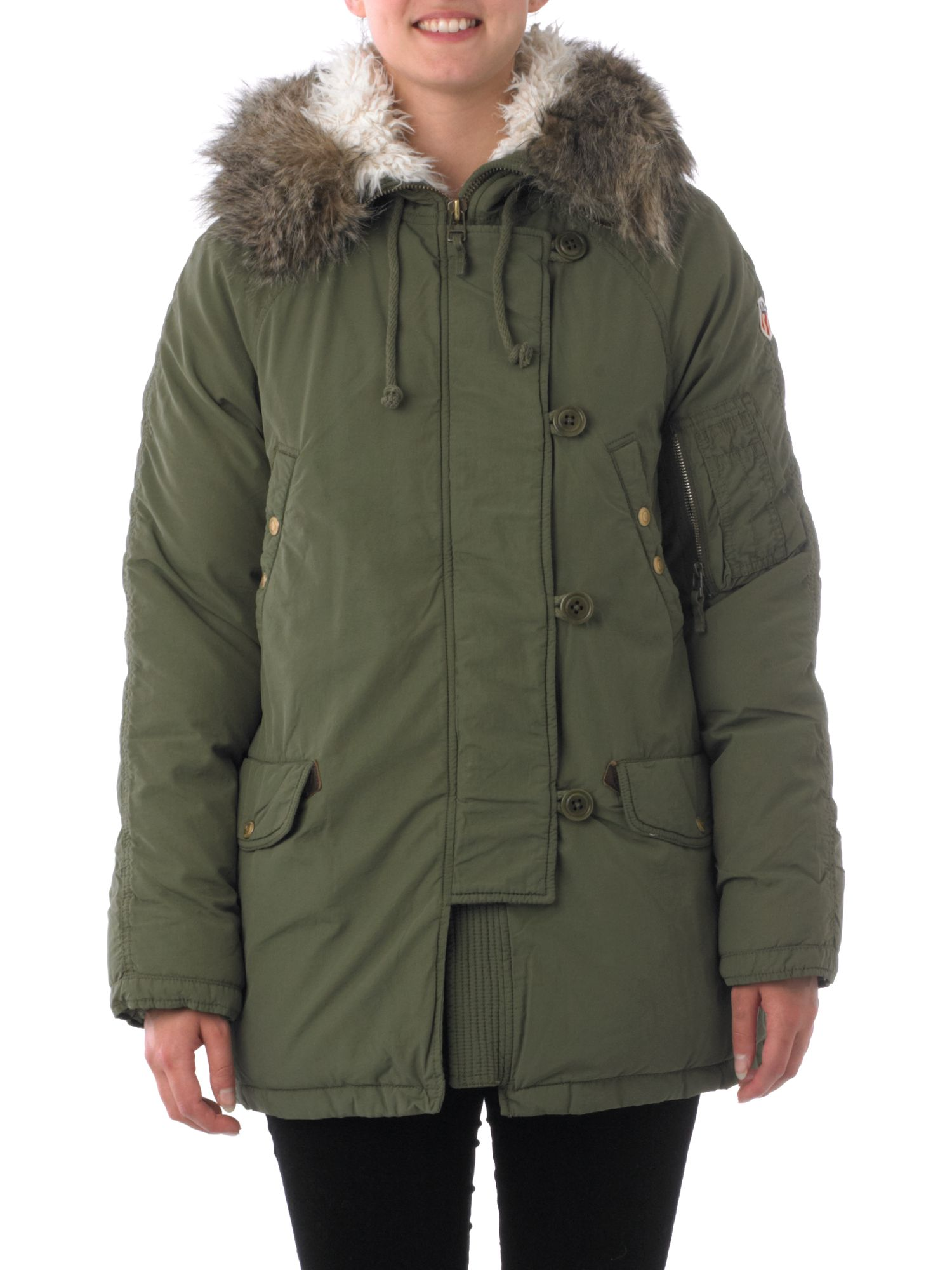 Nylon padded parka coat