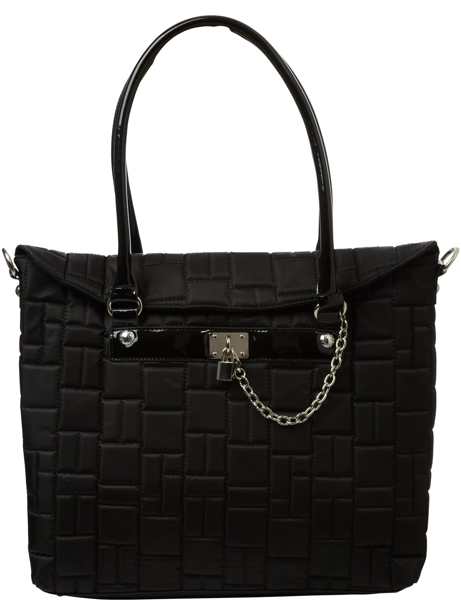 Linea Black nylon quilted tote bag product image